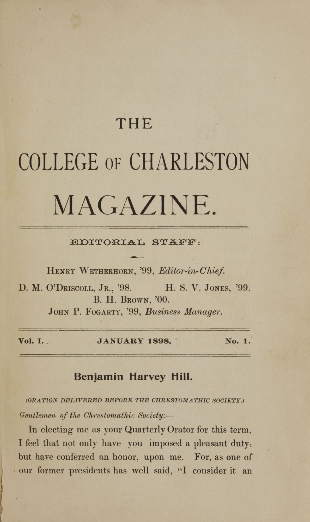 College of Charleston Magazine, 1898, Vol I. No. 1, page 3