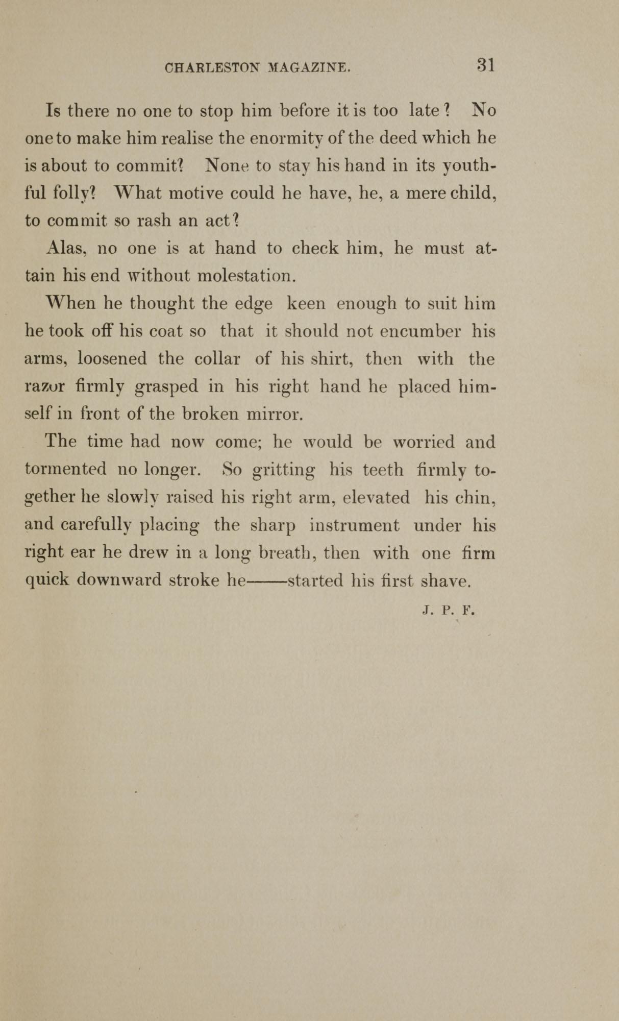 College of Charleston Magazine, 1898, Vol I. No. 1, page 31