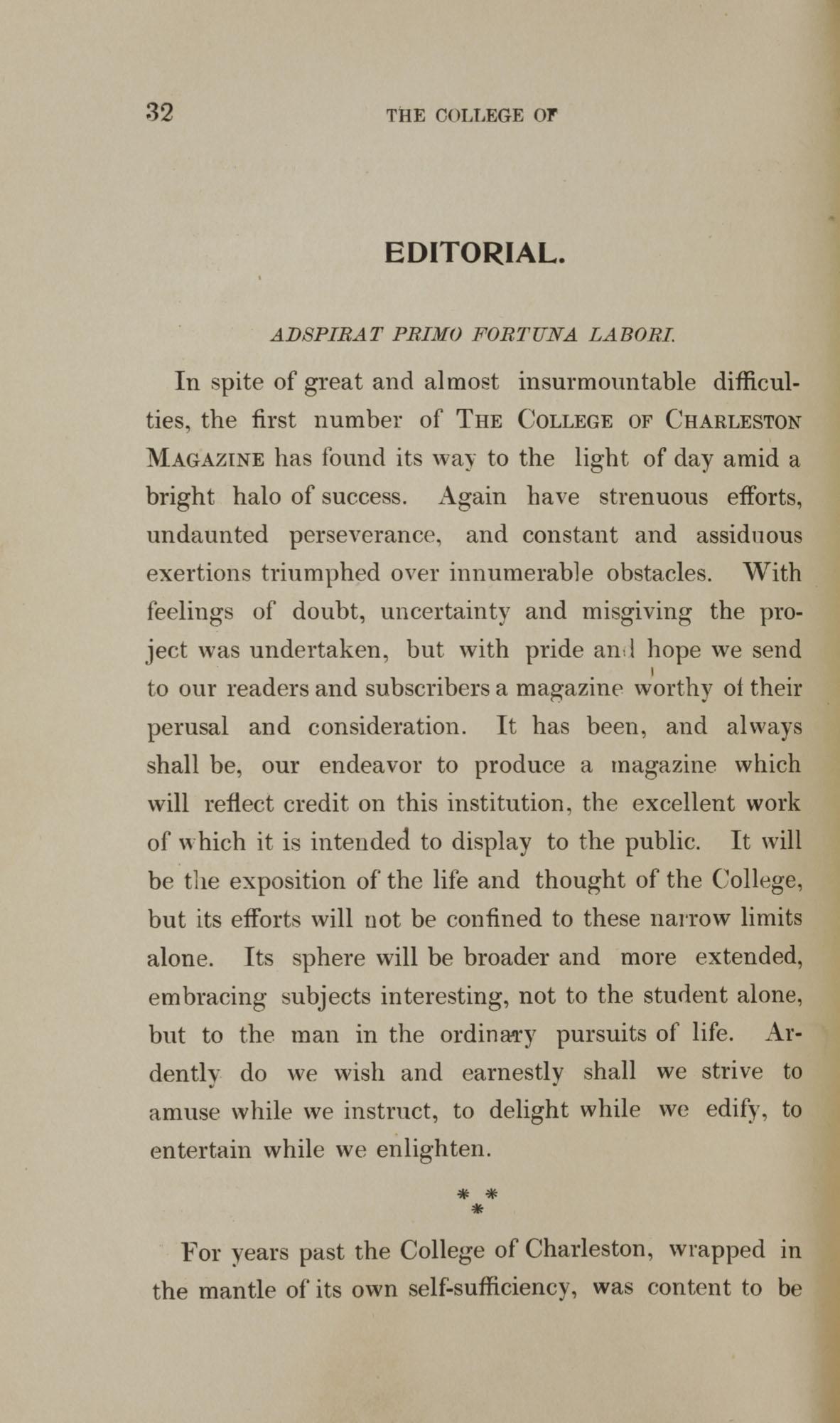 College of Charleston Magazine, 1898, Vol I. No. 1, page 32