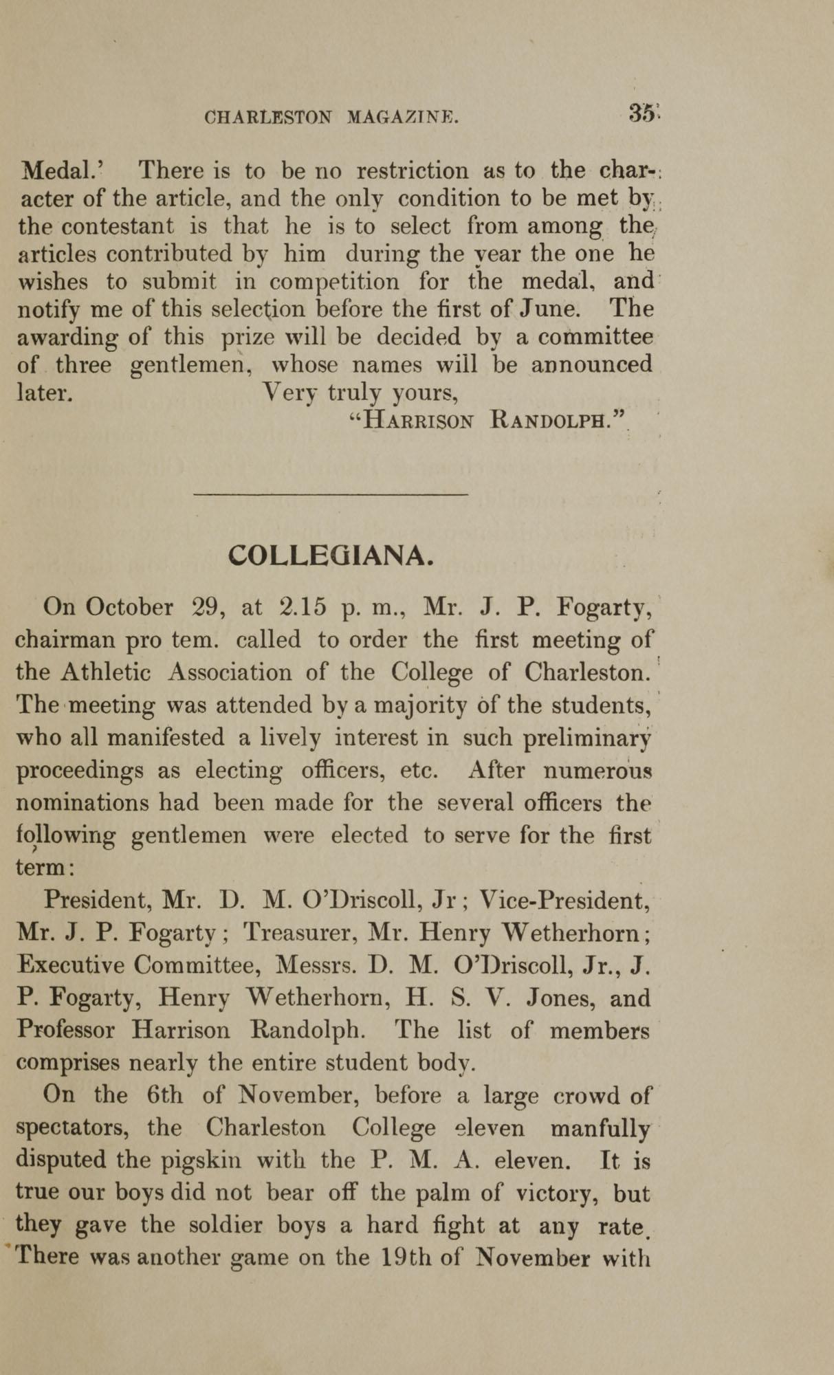 College of Charleston Magazine, 1898, Vol I. No. 1, page 35