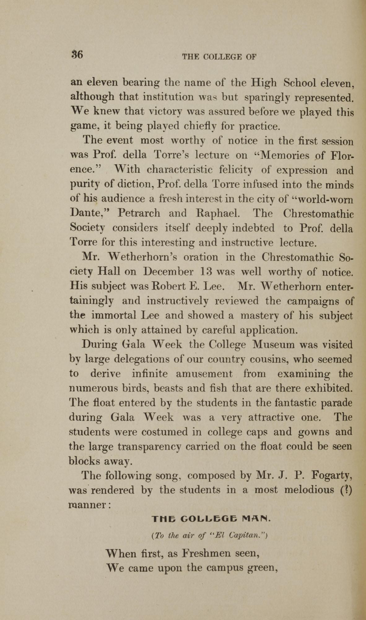 College of Charleston Magazine, 1898, Vol I. No. 1, page 36