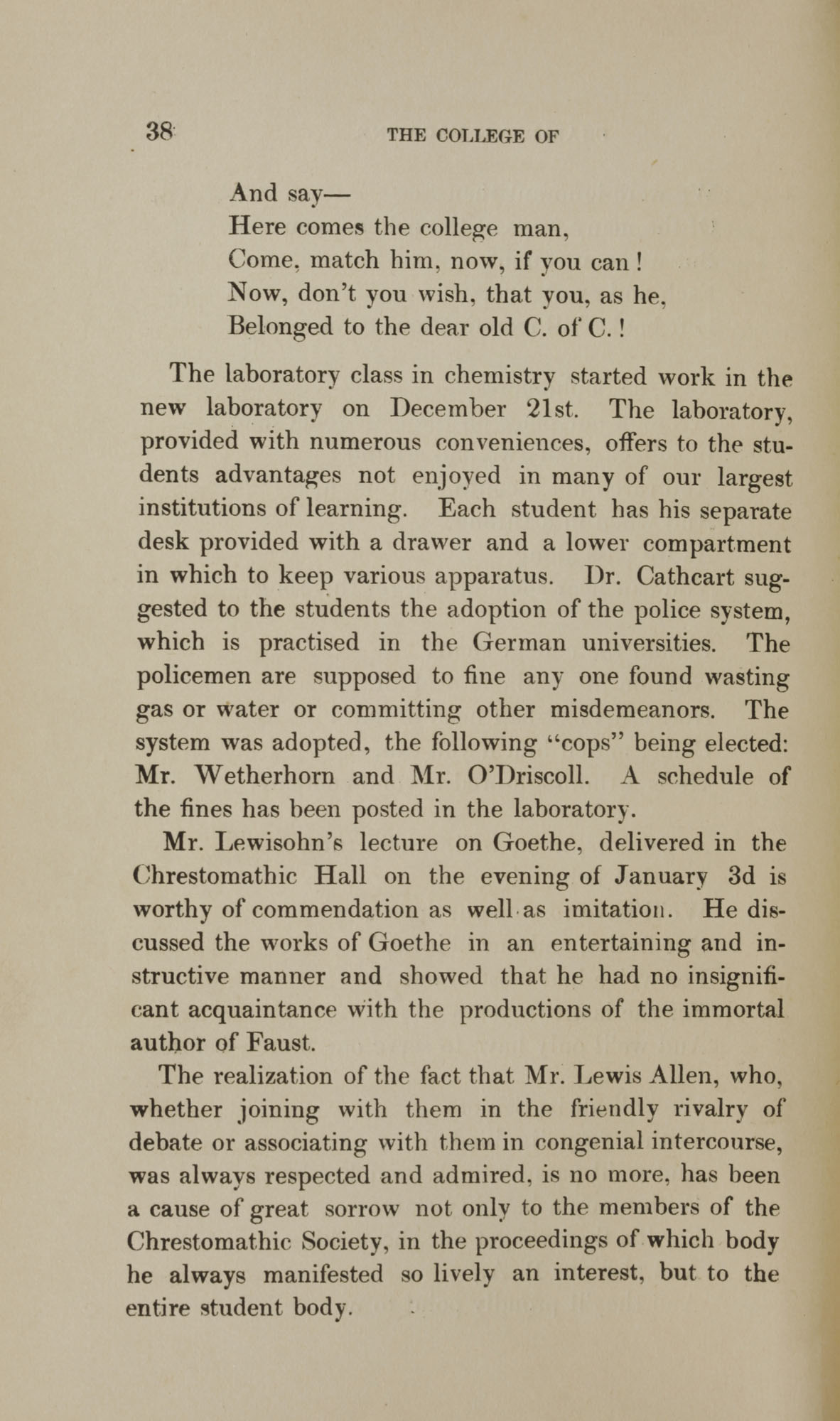 College of Charleston Magazine, 1898, Vol I. No. 1, page 38