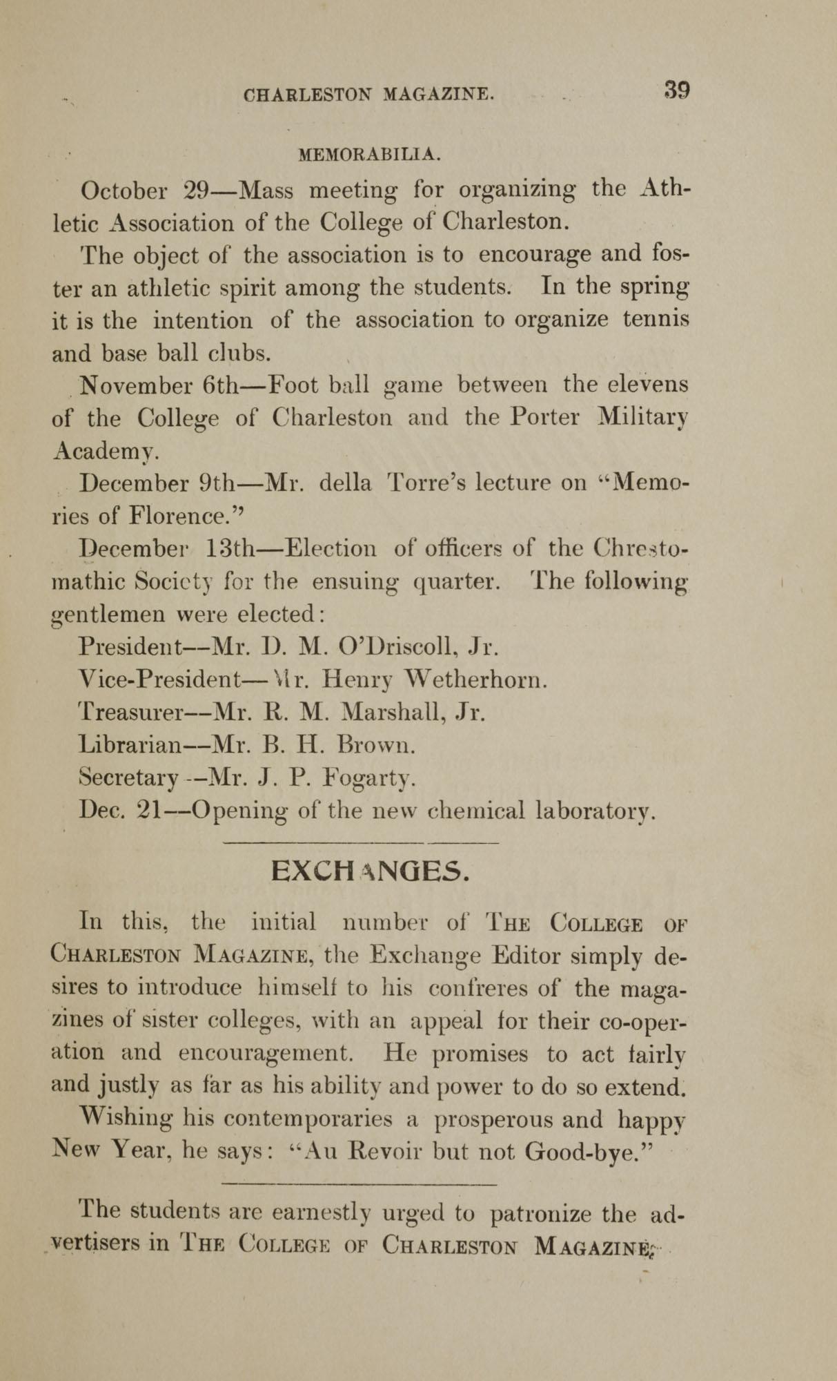 College of Charleston Magazine, 1898, Vol I. No. 1, page 39
