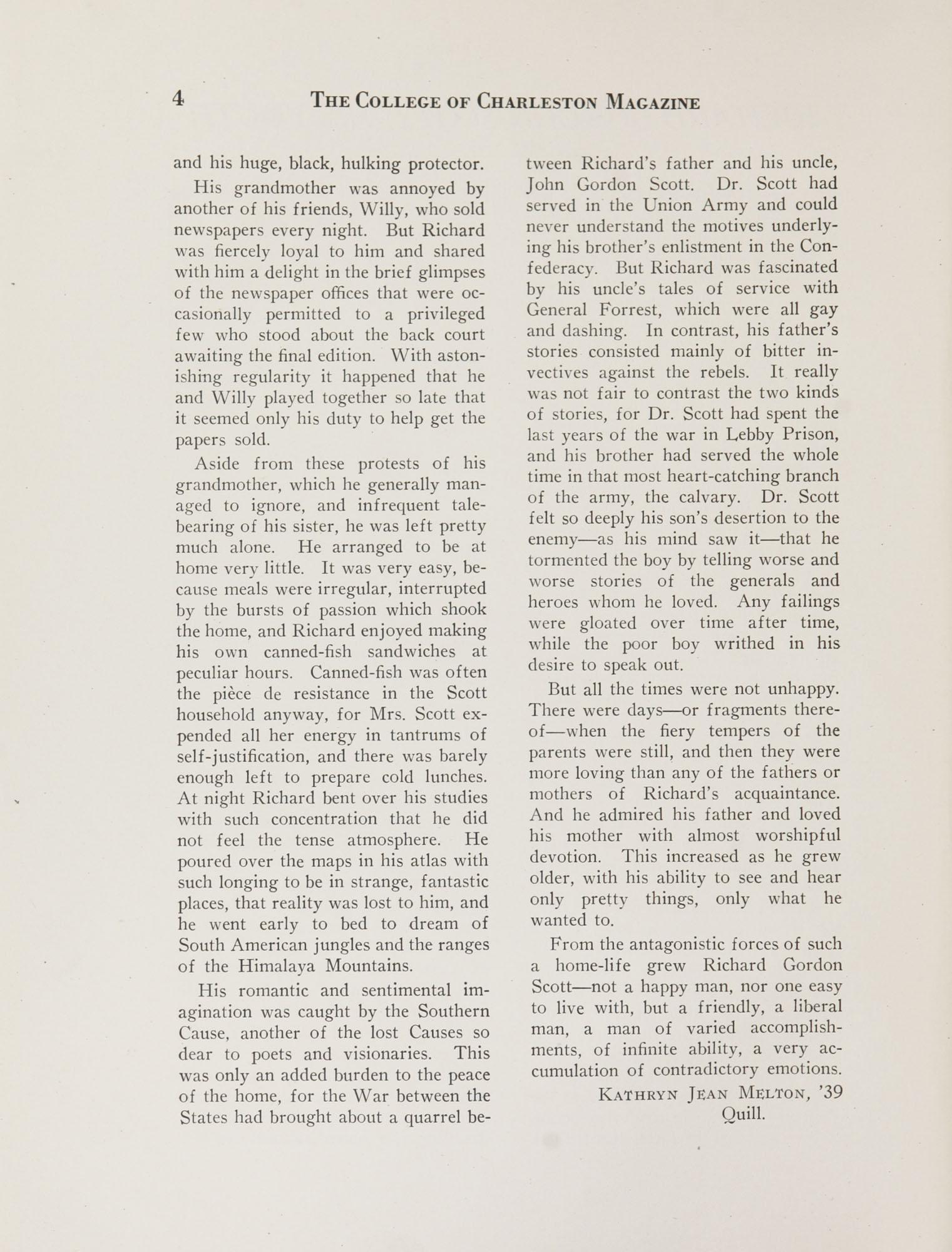 College of Charleston Magazine, 1937-1938, Vol. XXXXI No. 1, page 4