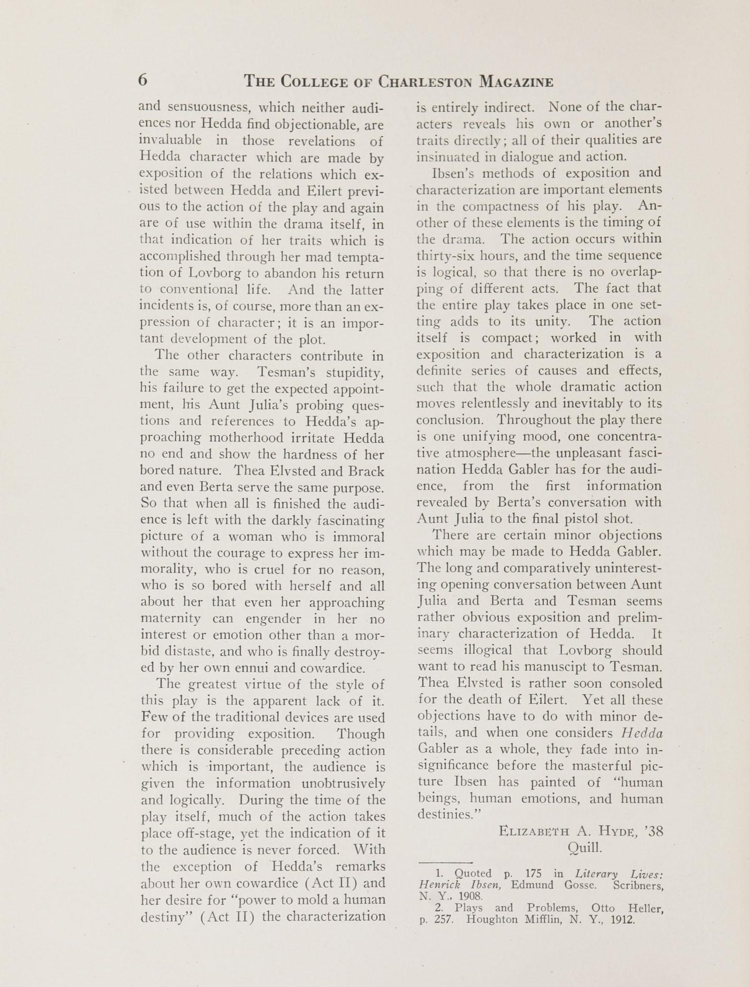 College of Charleston Magazine, 1937-1938, Vol. XXXXI No. 1, page 6