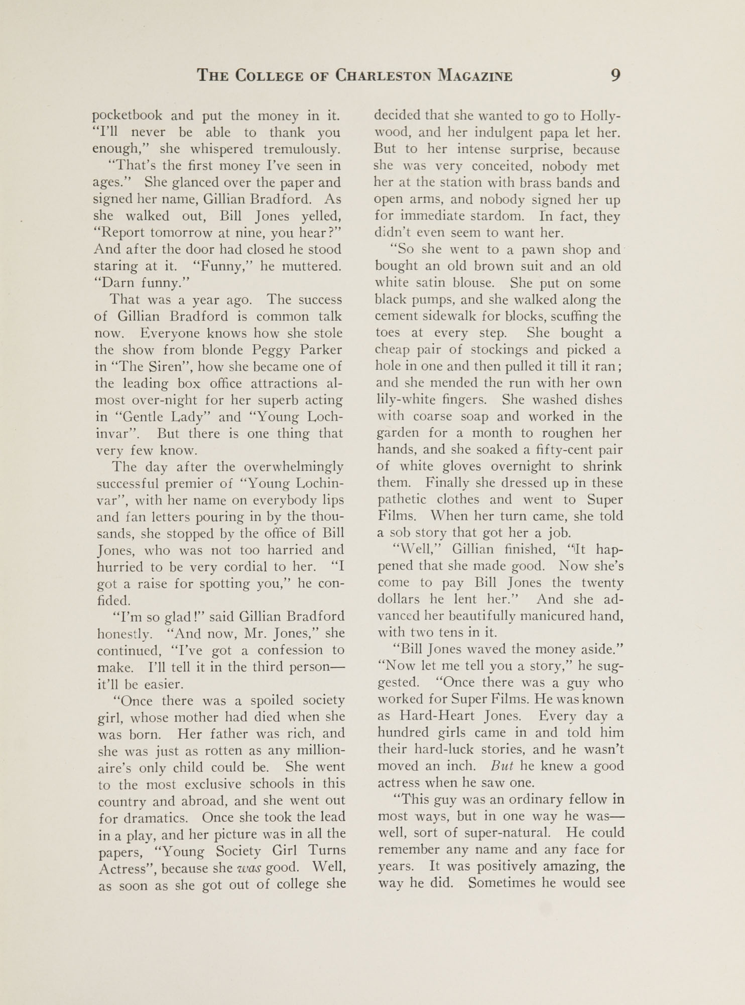 College of Charleston Magazine, 1937-1938, Vol. XXXXI No. 1, page 9
