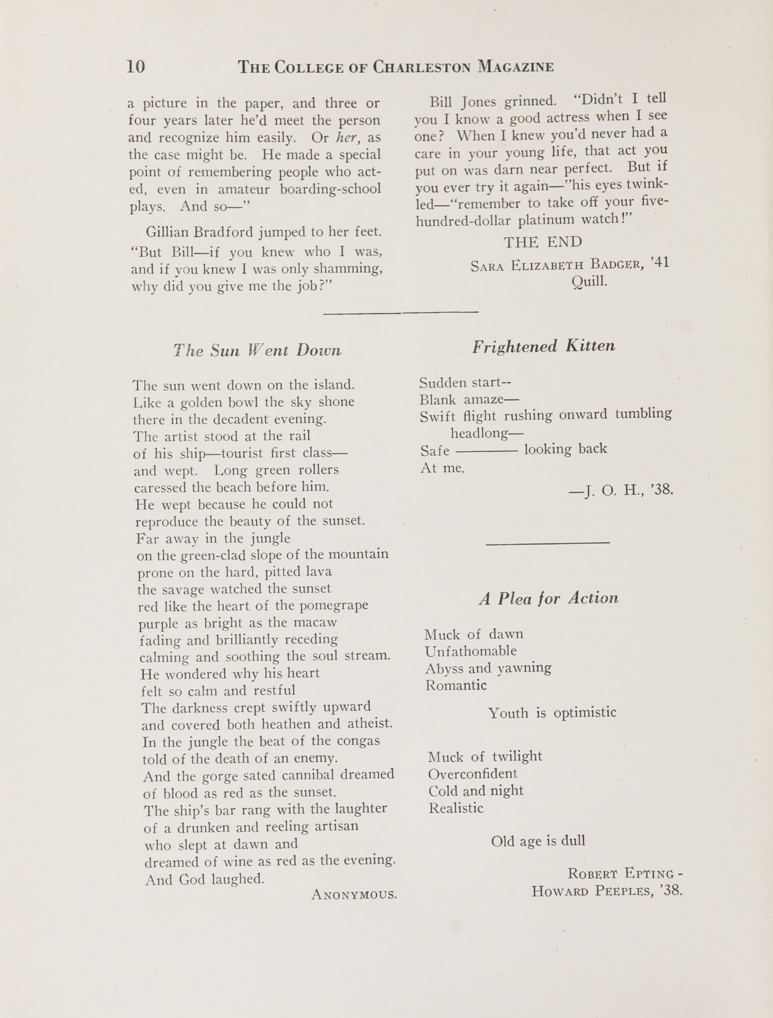 College of Charleston Magazine, 1937-1938, Vol. XXXXI No. 1, page 10