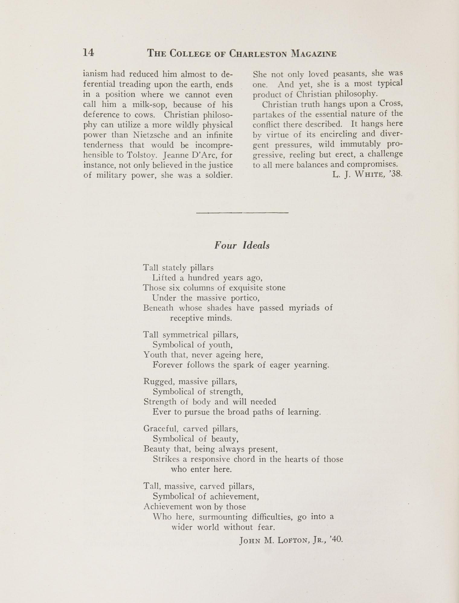College of Charleston Magazine, 1937-1938, Vol. XXXXI No. 1, page 14