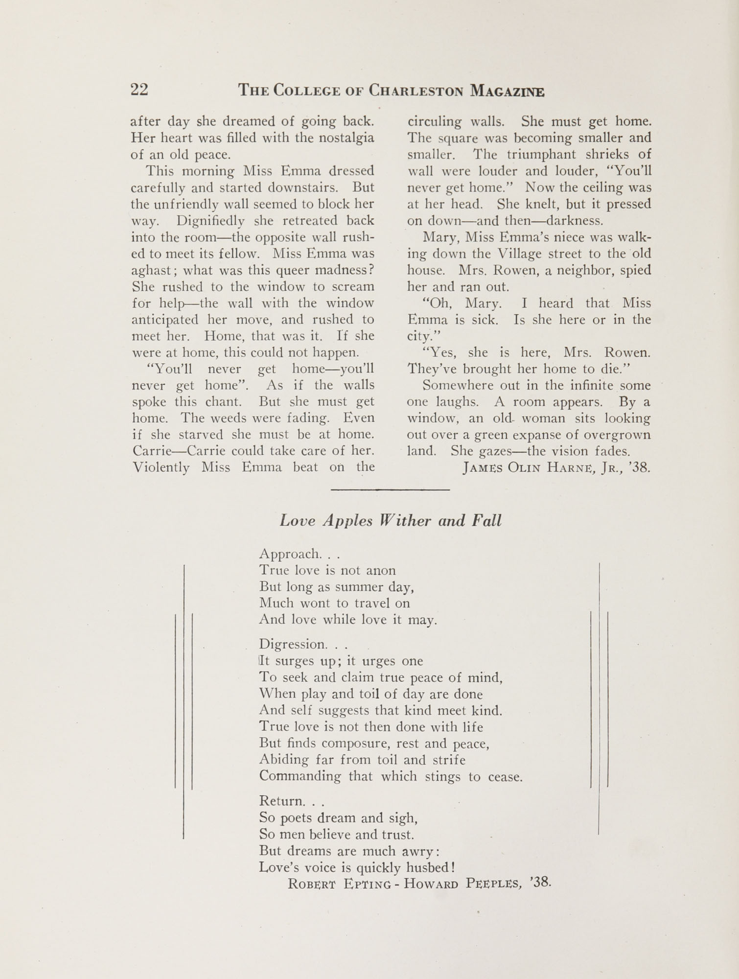 College of Charleston Magazine, 1937-1938, Vol. XXXXI No. 1, page 22