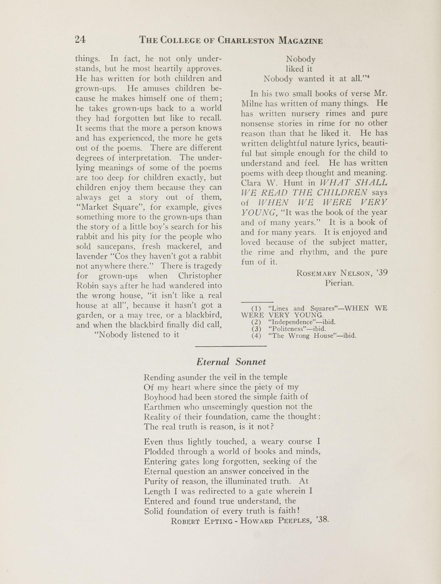 College of Charleston Magazine, 1937-1938, Vol. XXXXI No. 1, page 24