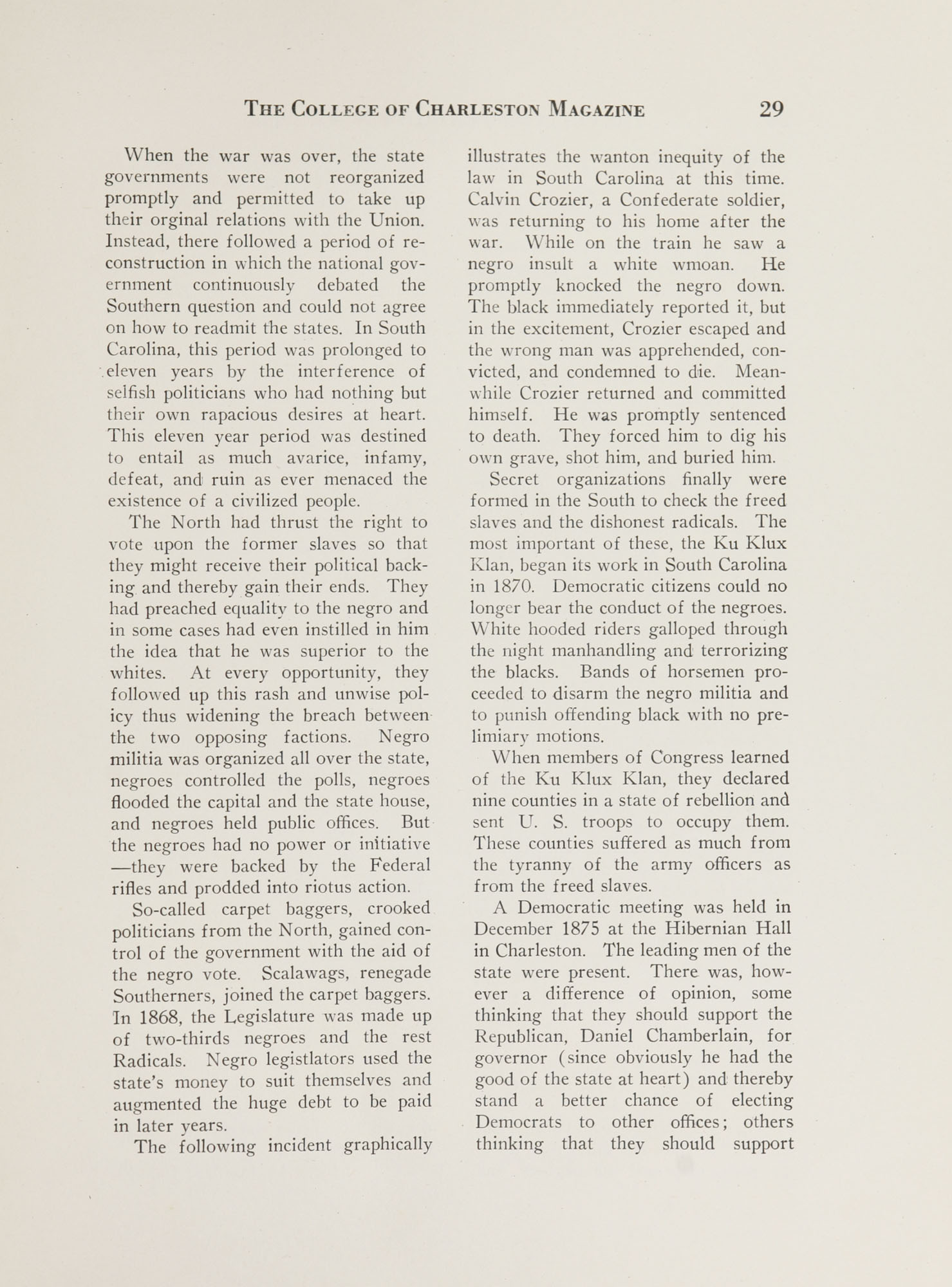 College of Charleston Magazine, 1937-1938, Vol. XXXXI No. 1, page 29
