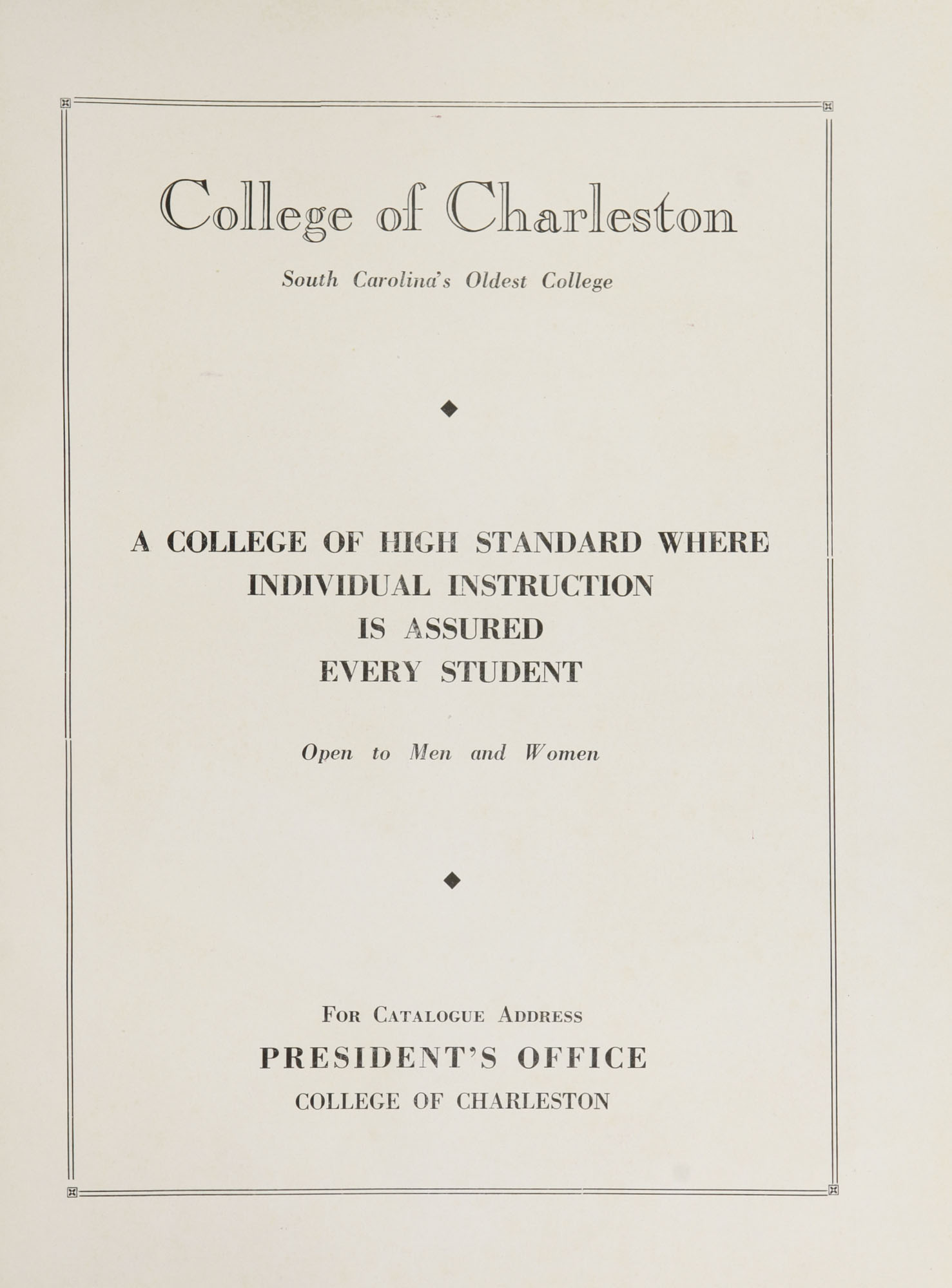 College of Charleston Magazine, 1937-1938, Vol. XXXXI No. 1, advertisement
