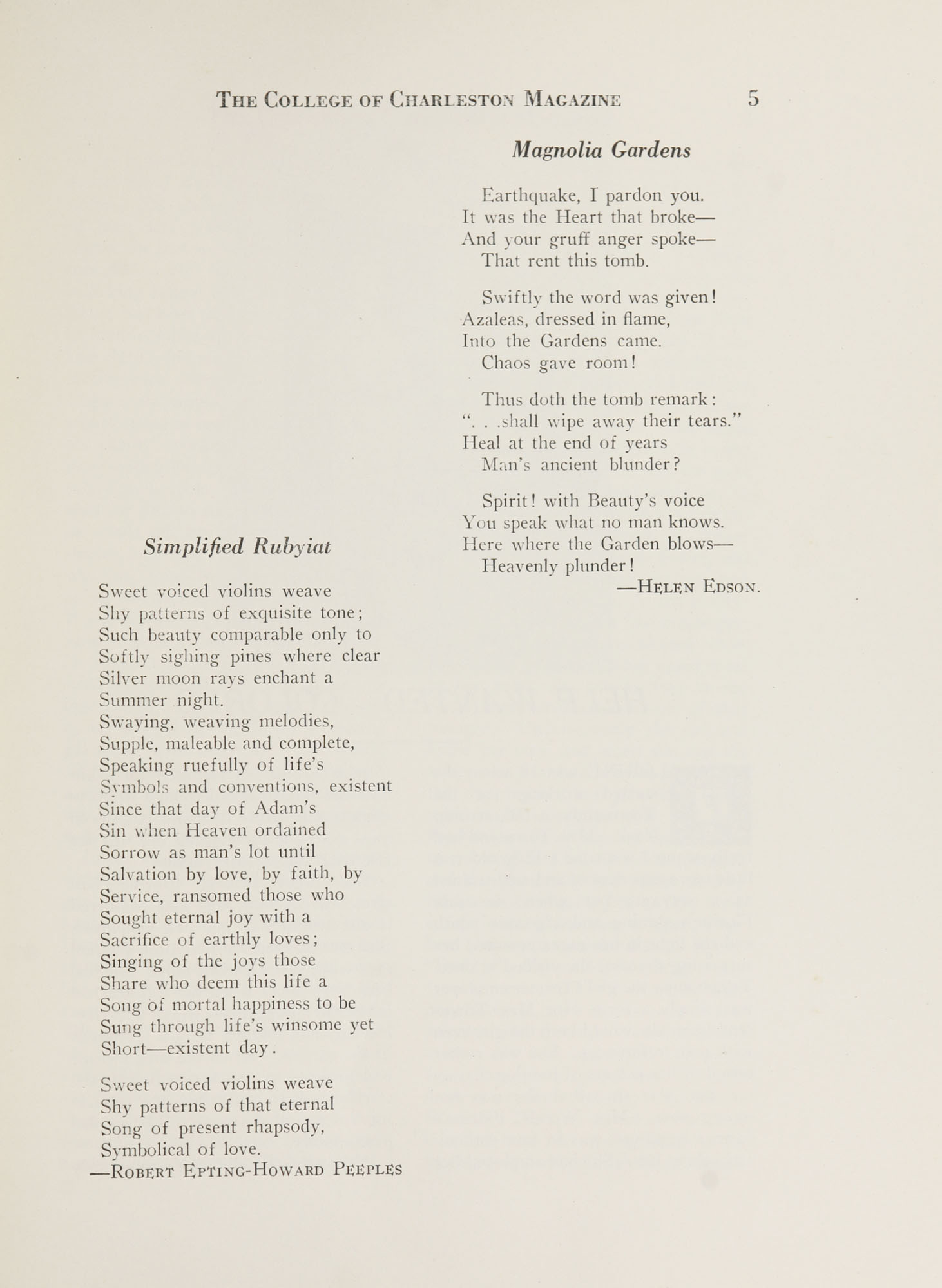 College of Charleston Magazine, 1937-1938, Vol. XXXXI No. 2, page 5