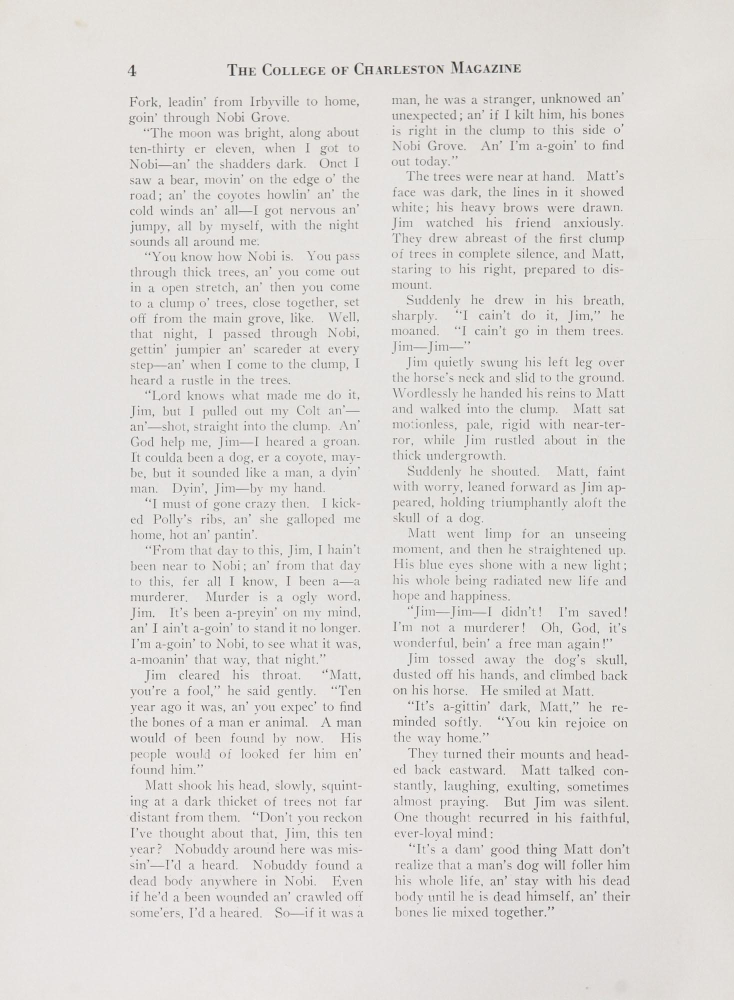 College of Charleston Magazine, 1938-1939, Vol. XXXXII No. 1, page 4