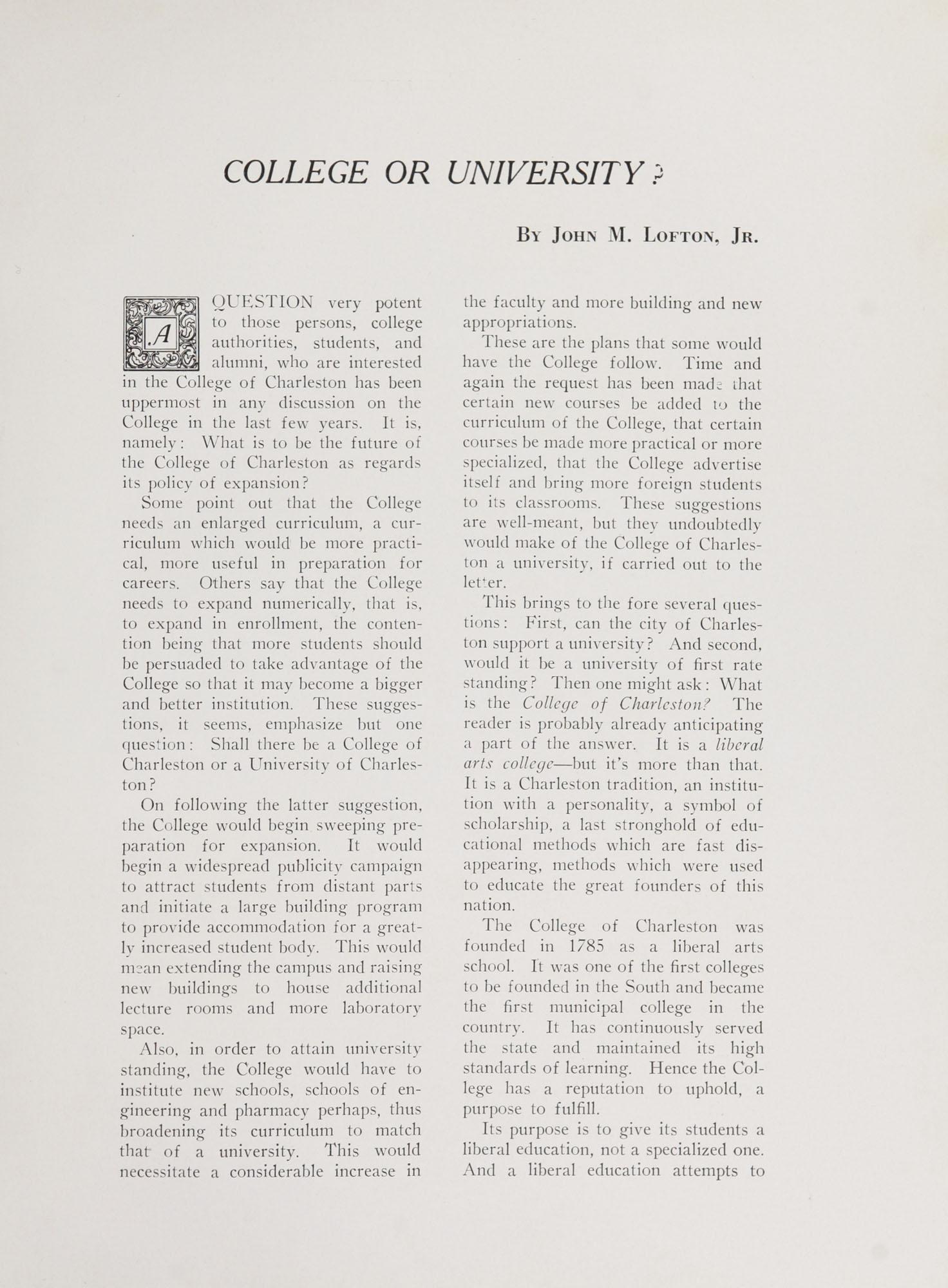College of Charleston Magazine, 1938-1939, Vol. XXXXII No. 1, page 5