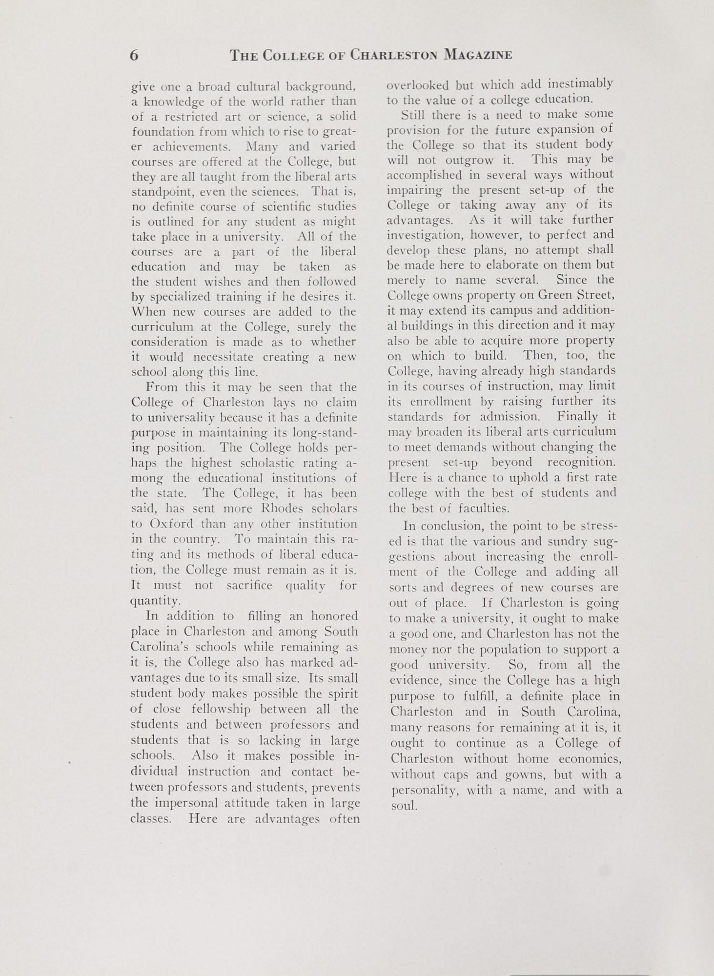 College of Charleston Magazine, 1938-1939, Vol. XXXXII No. 1, page 6
