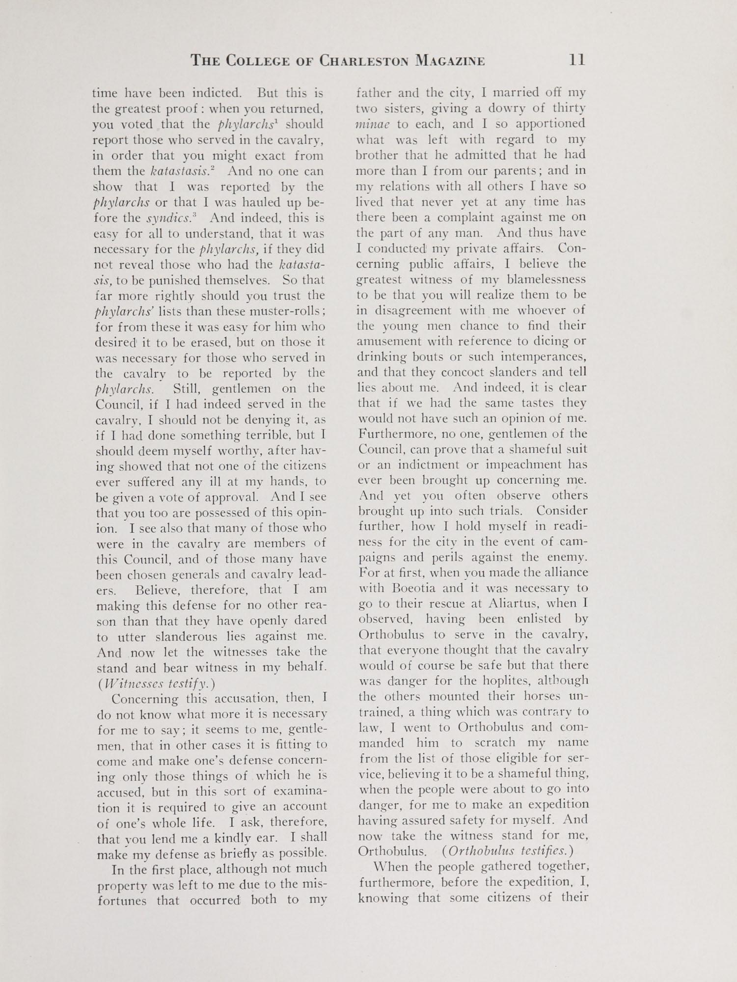 College of Charleston Magazine, 1938-1939, Vol. XXXXII No. 1, page 11
