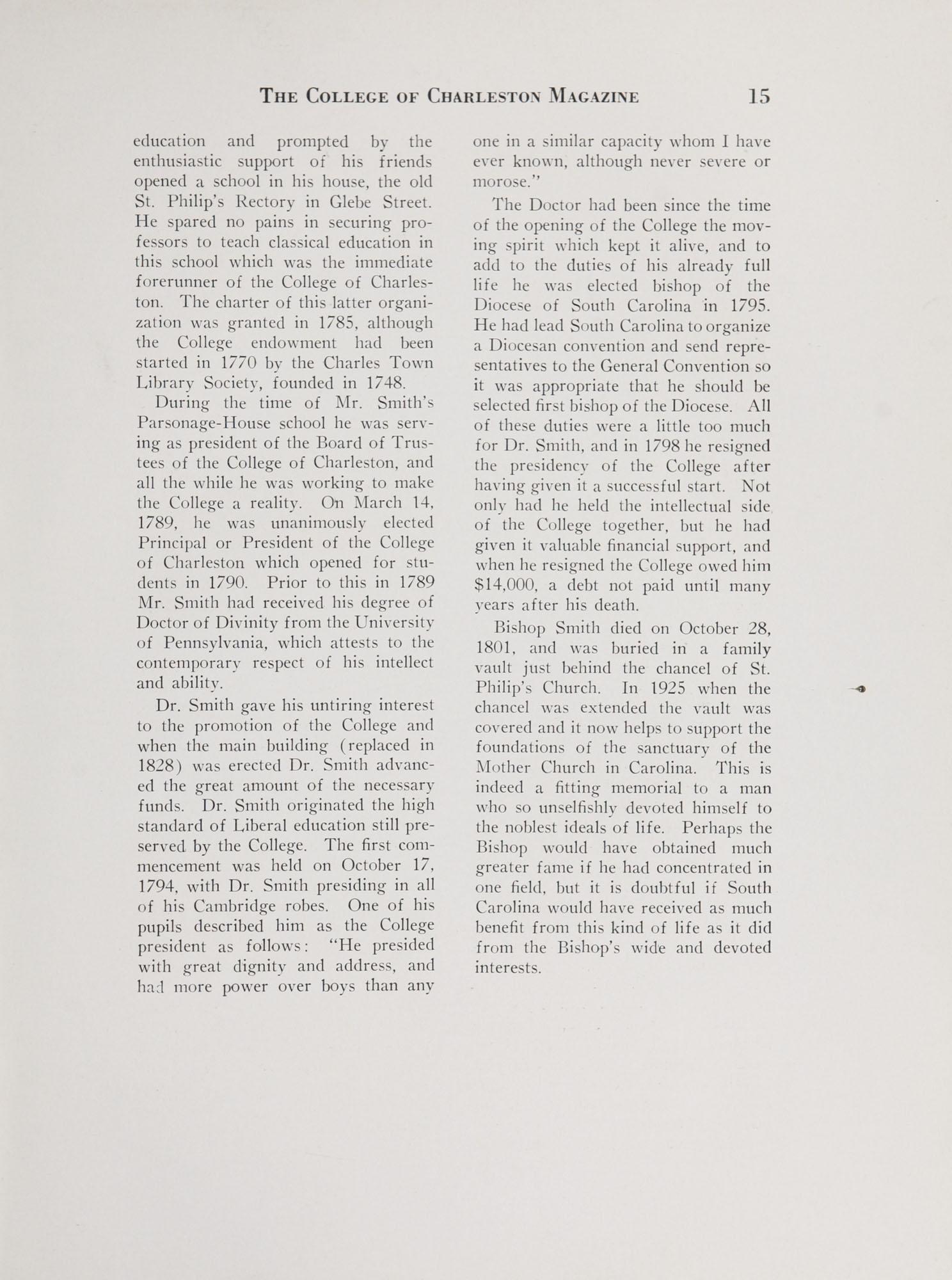 College of Charleston Magazine, 1938-1939, Vol. XXXXII No. 1, page 15
