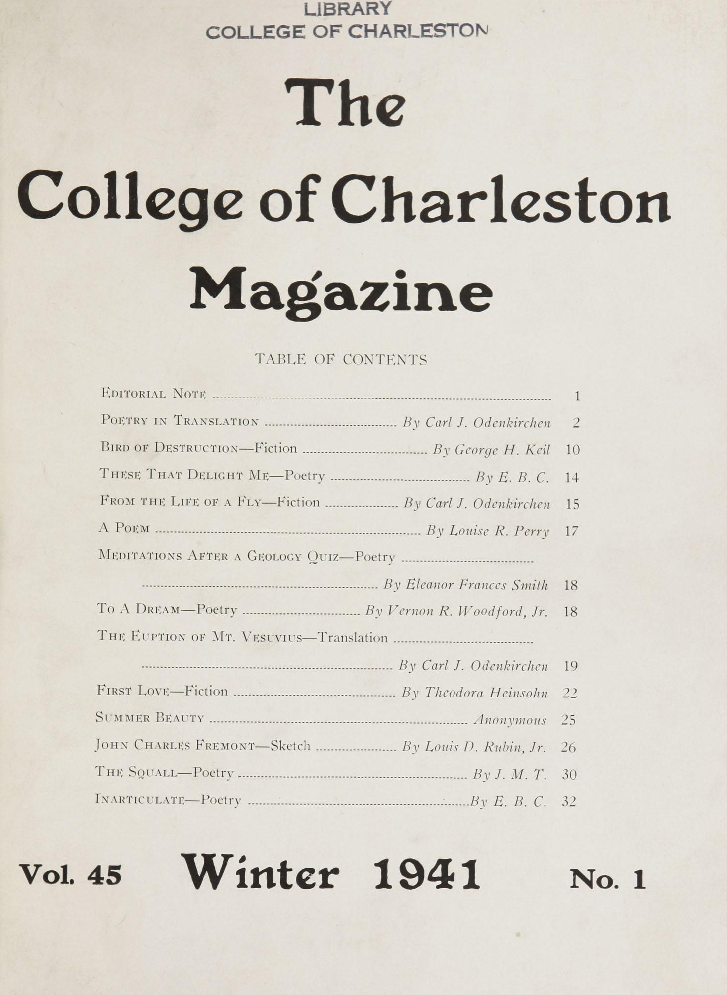 College of Charleston Magazine, 1941-1942, Vol. 45 No. 1, cover