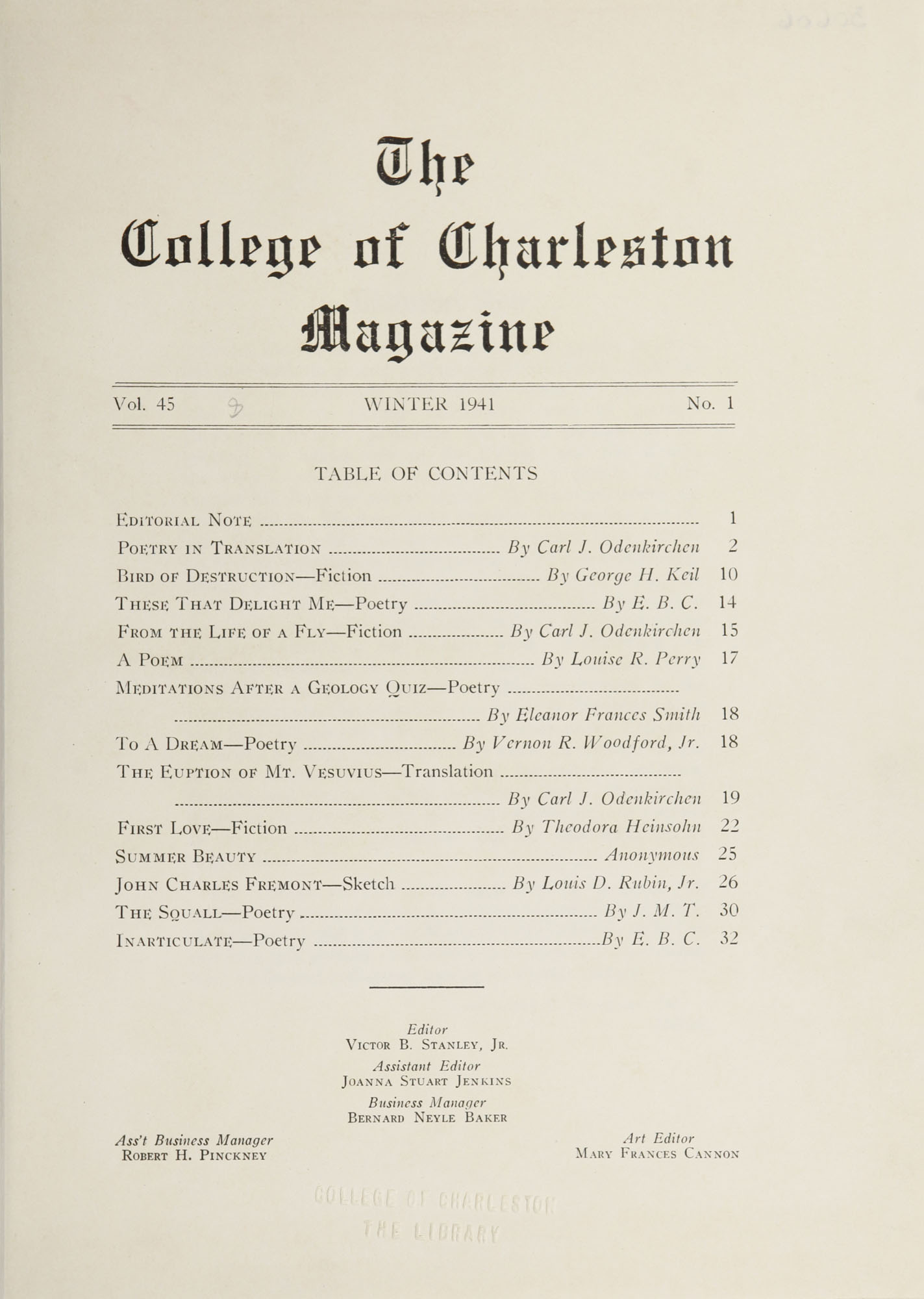 College of Charleston Magazine, 1941-1942, Vol. 45 No. 1, table of contents
