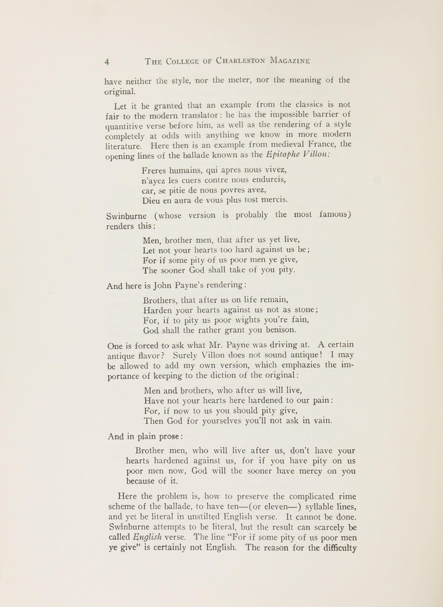 College of Charleston Magazine, 1941-1942, Vol. 45 No. 1, page 4