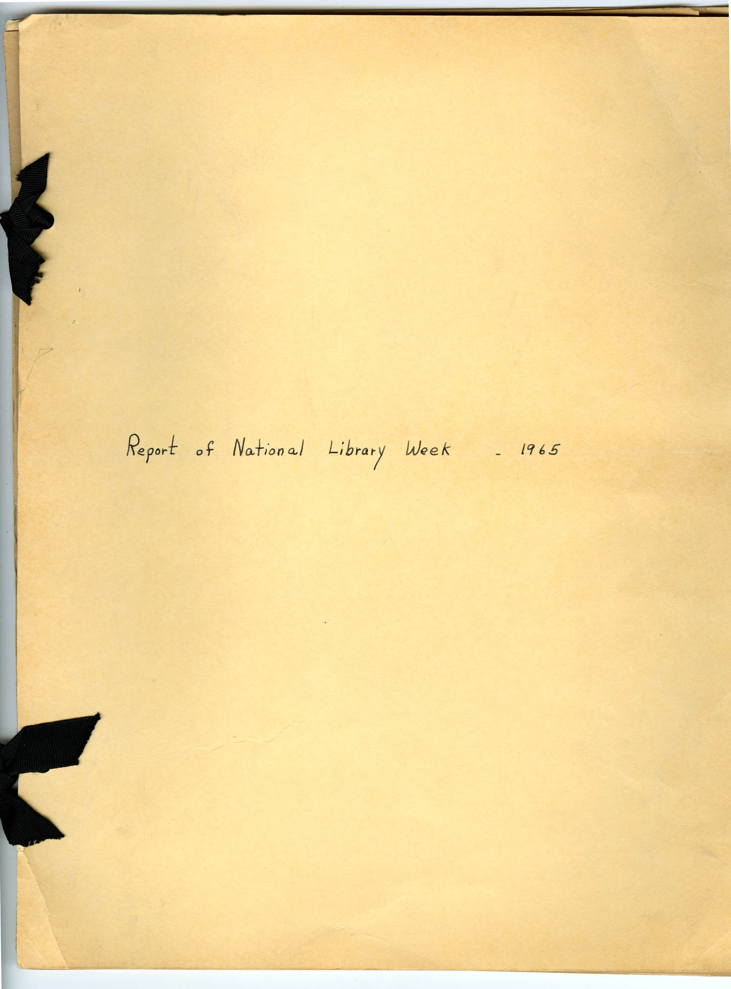 Report of National Library Week - 1965, Cover