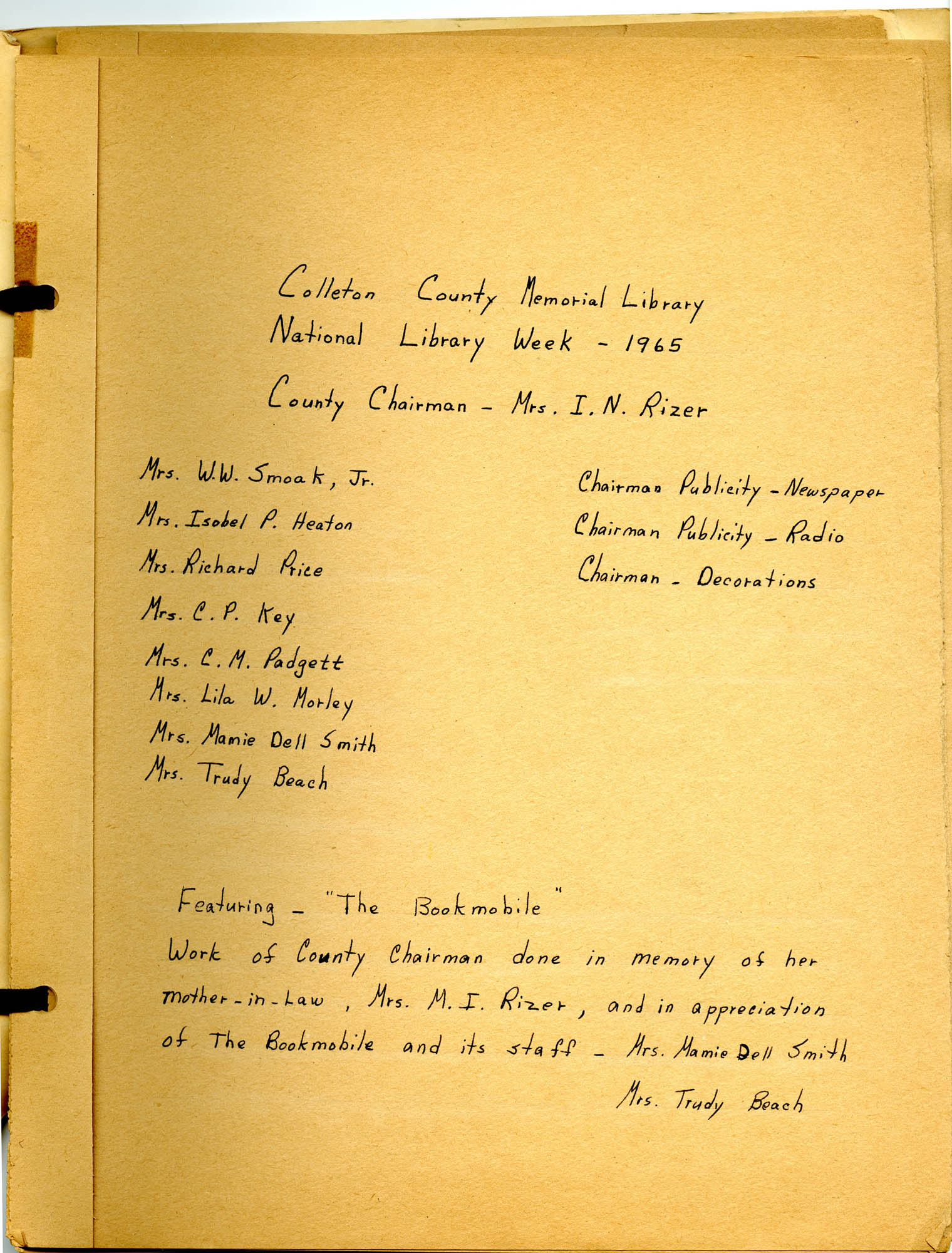 Report of National Library Week - 1965, Title Page