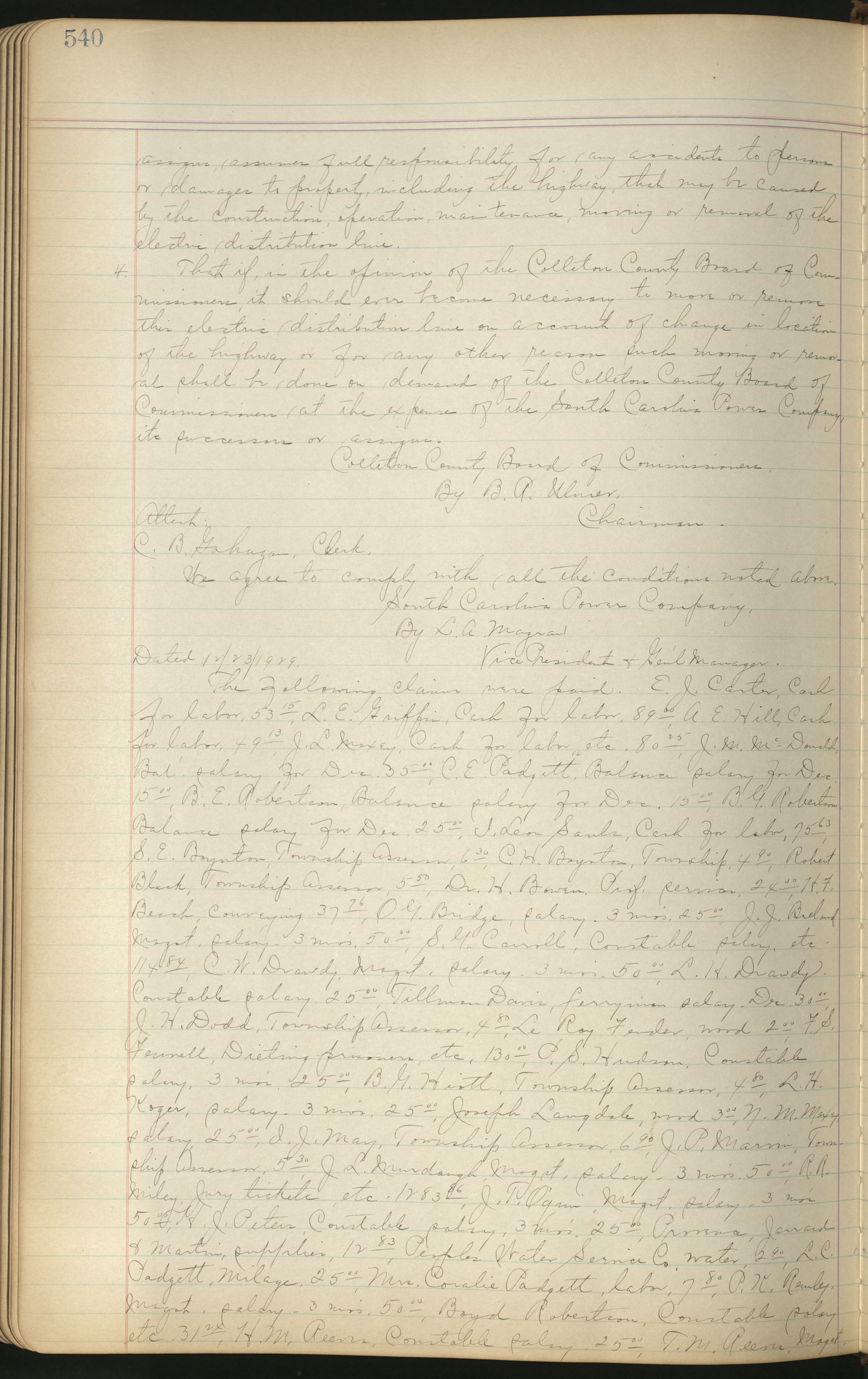 Colleton County Highway Commission Ledger, Page 540