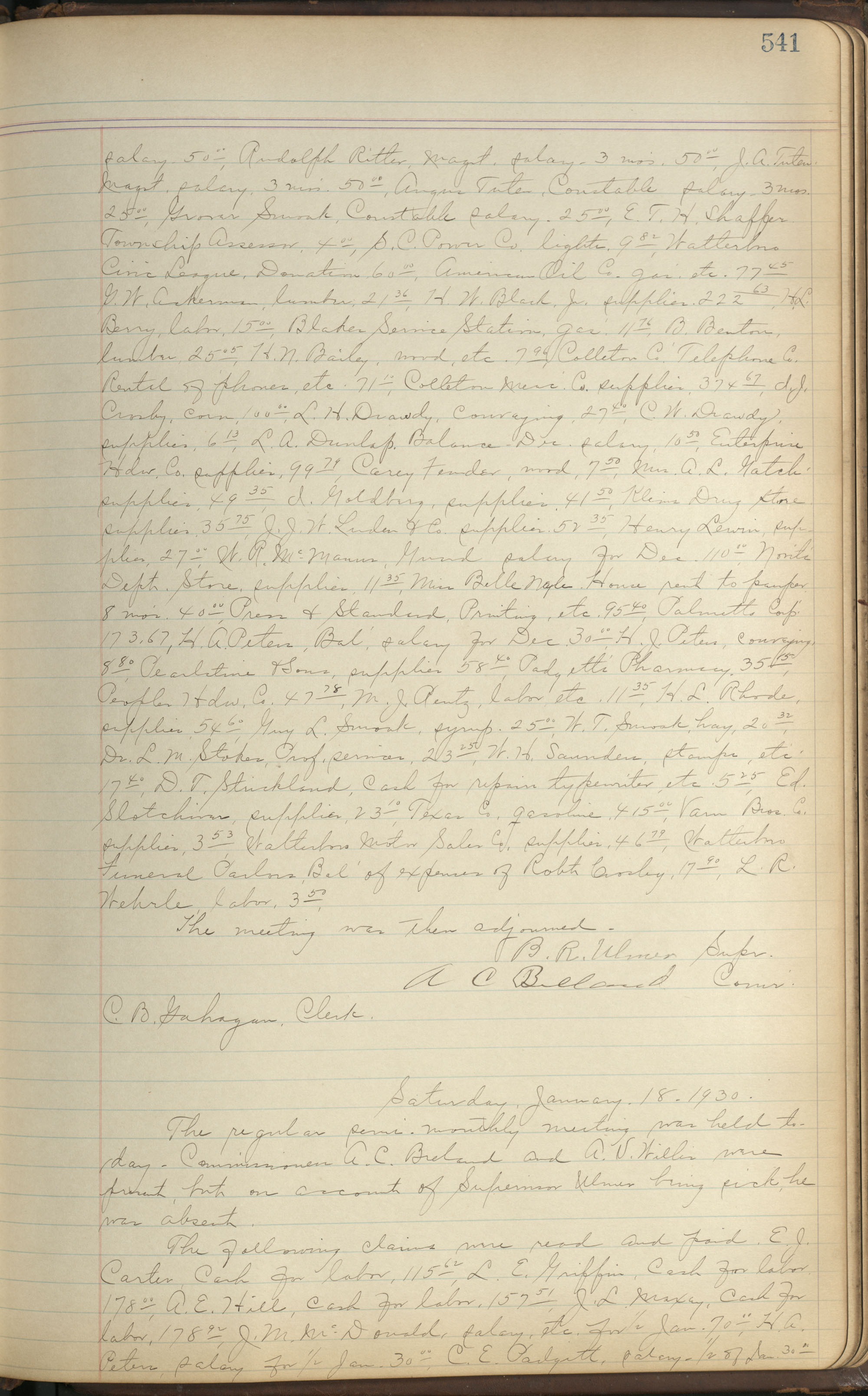 Colleton County Highway Commission Ledger, Page 541