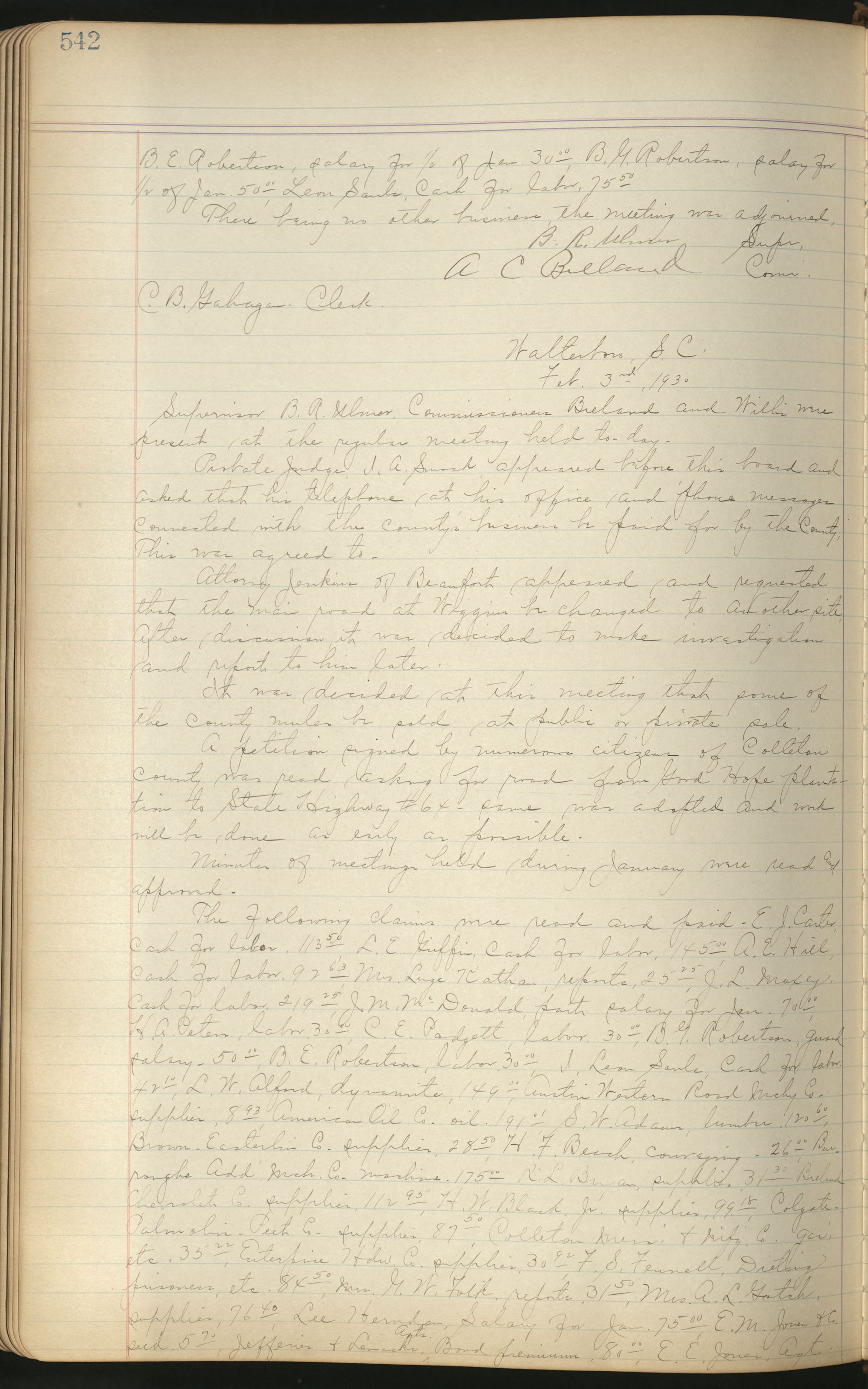 Colleton County Highway Commission Ledger, Page 542