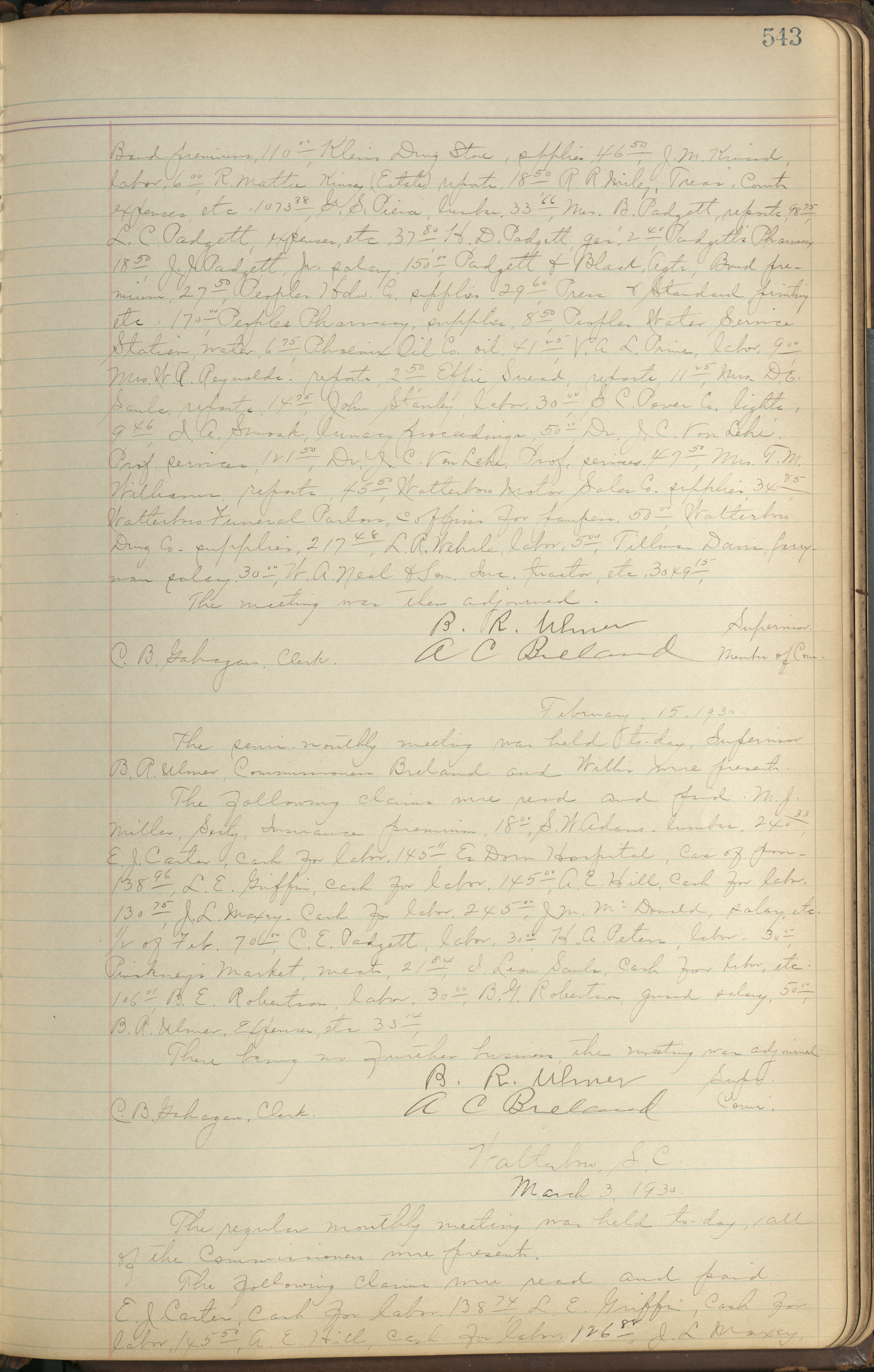 Colleton County Highway Commission Ledger, Page 543