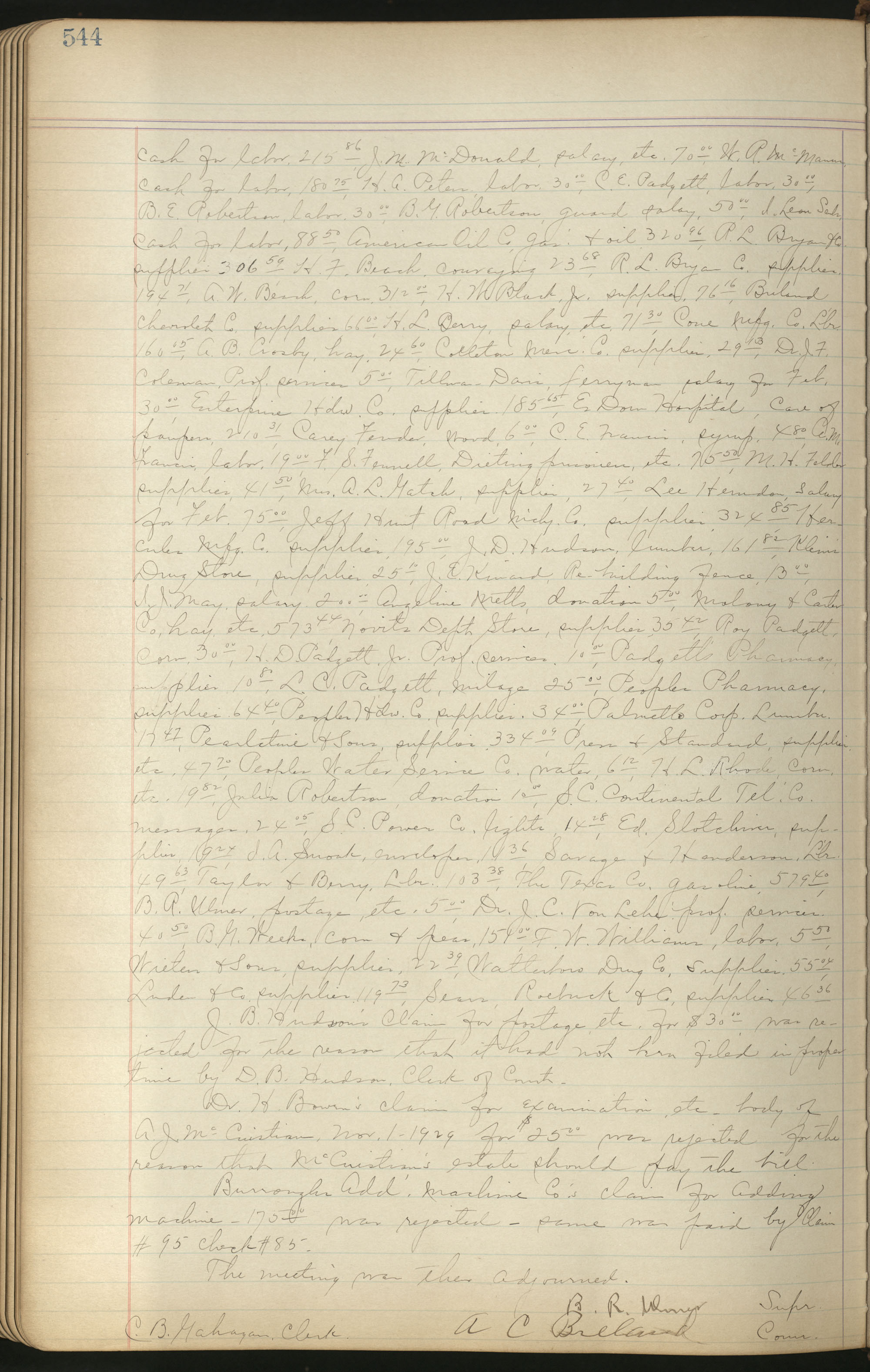 Colleton County Highway Commission Ledger, Page 544