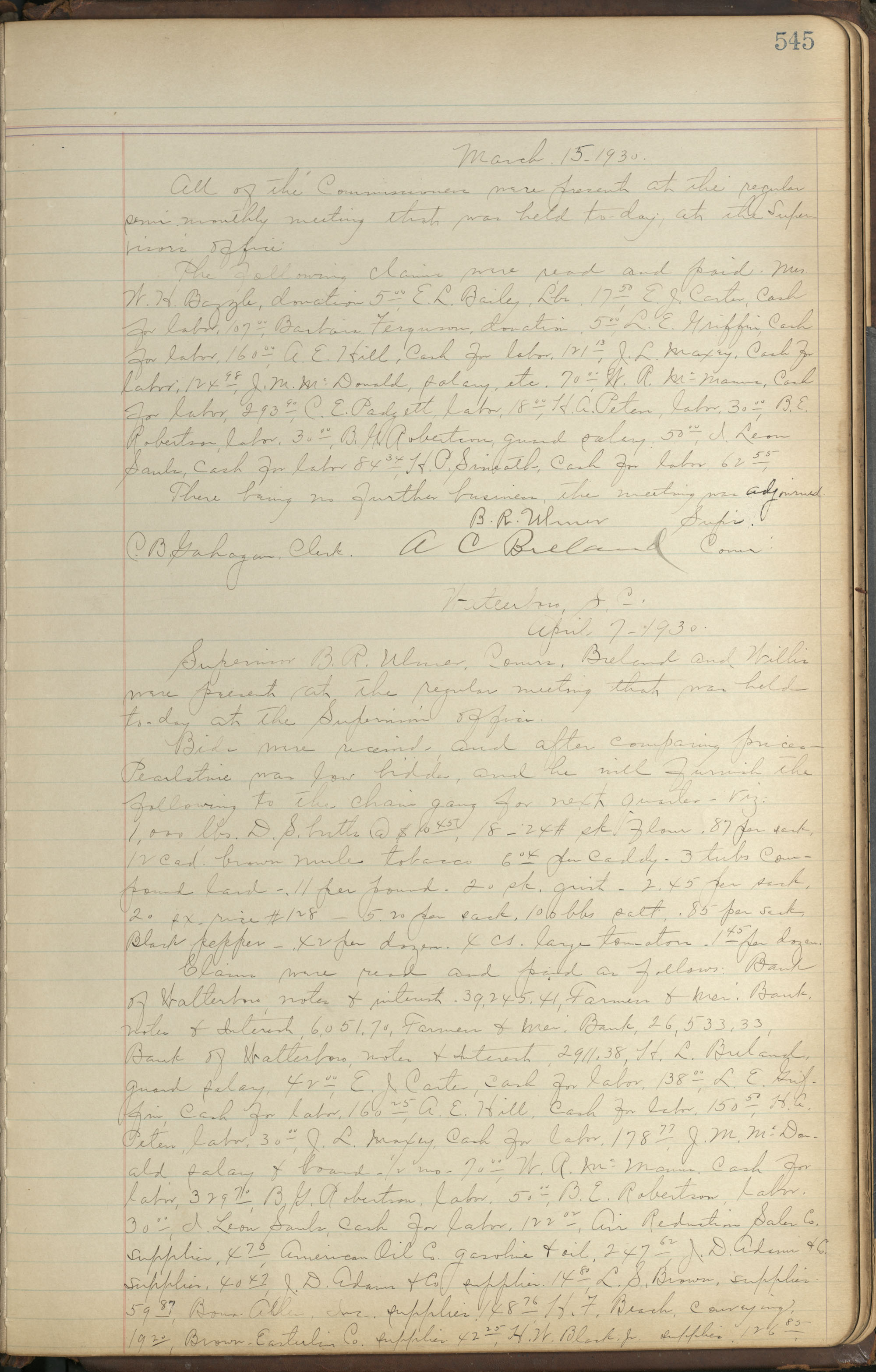 Colleton County Highway Commission Ledger, Page 545