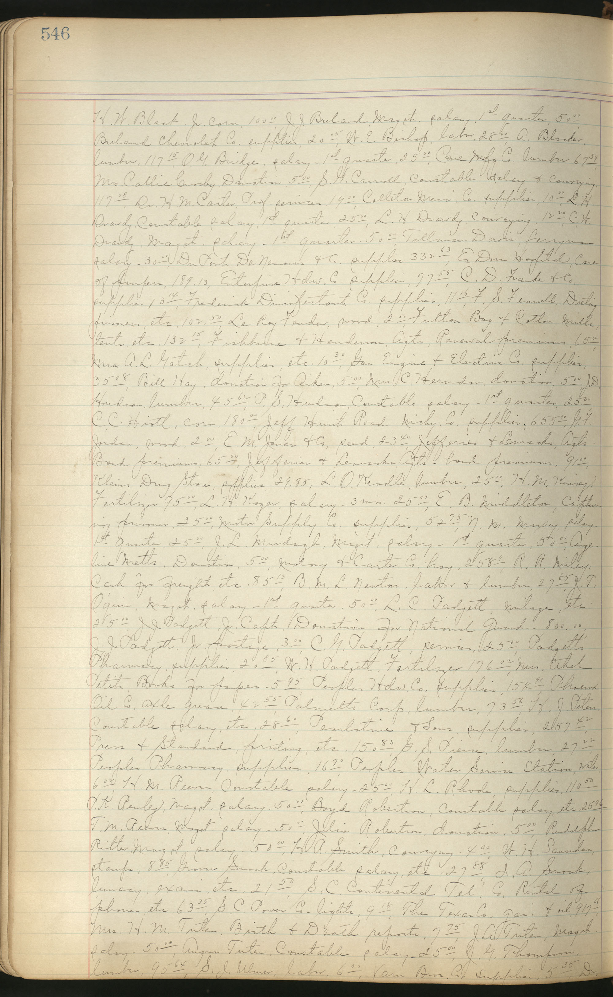 Colleton County Highway Commission Ledger, Page 546