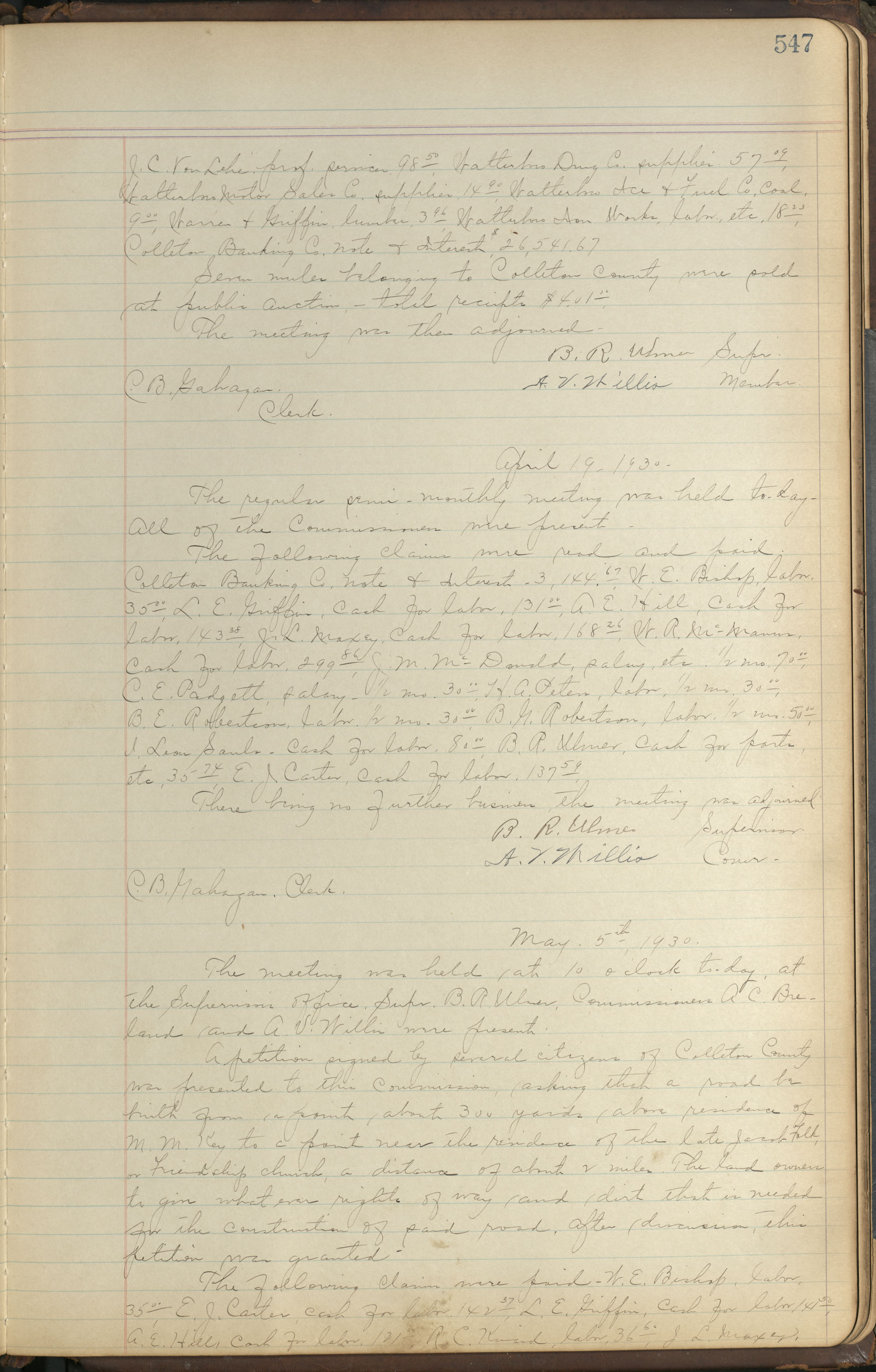 Colleton County Highway Commission Ledger, Page 547