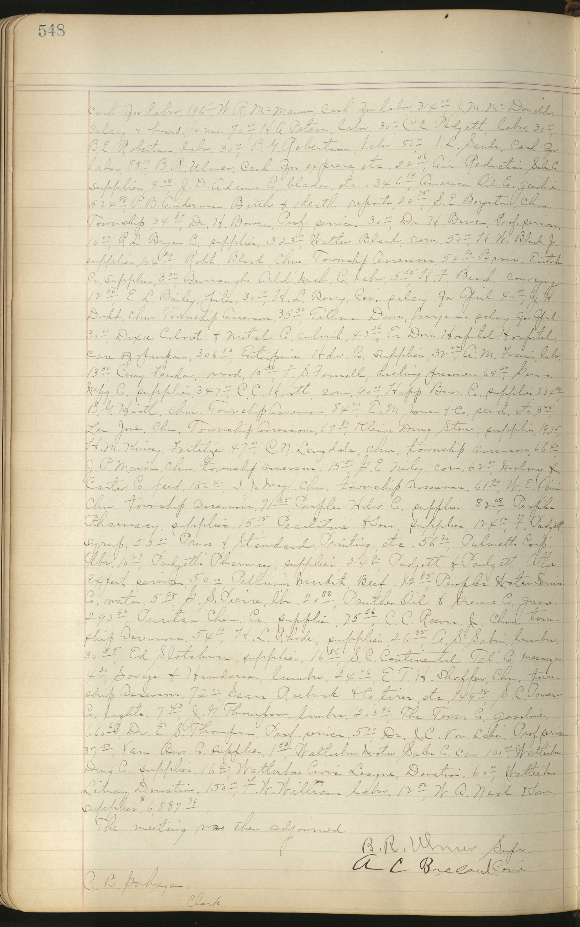 Colleton County Highway Commission Ledger, Page 548