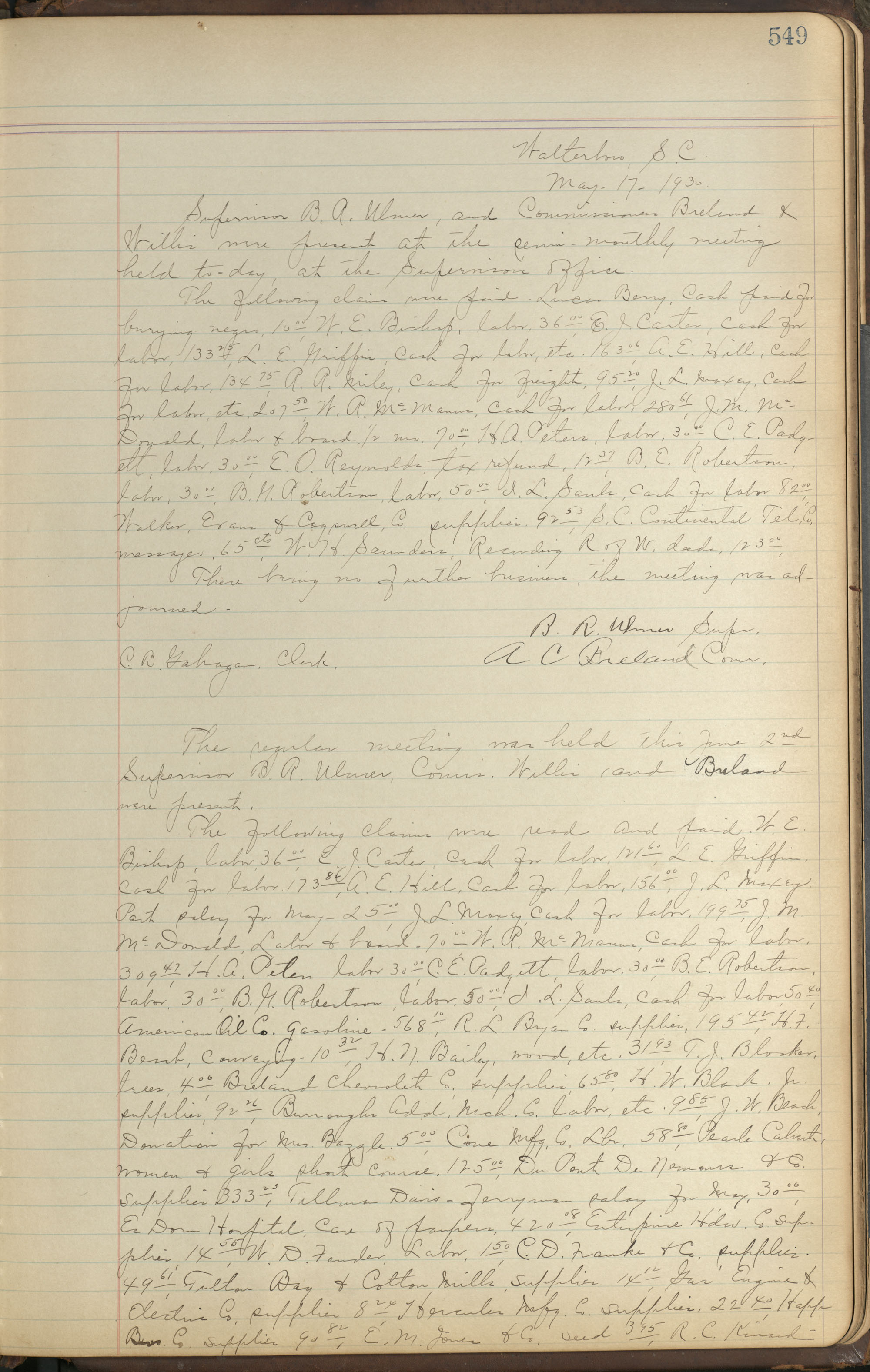 Colleton County Highway Commission Ledger, Page 549