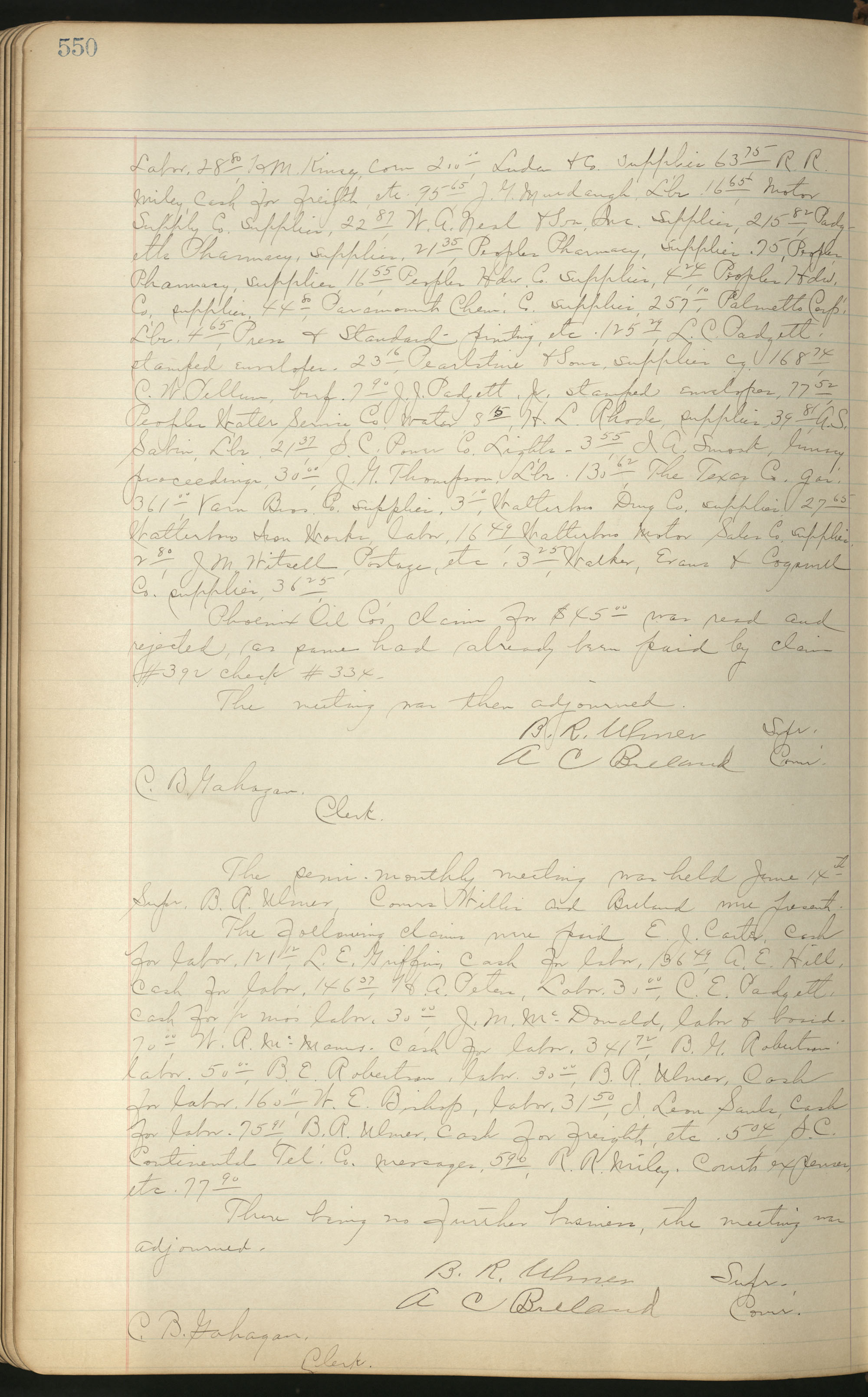 Colleton County Highway Commission Ledger, Page 550