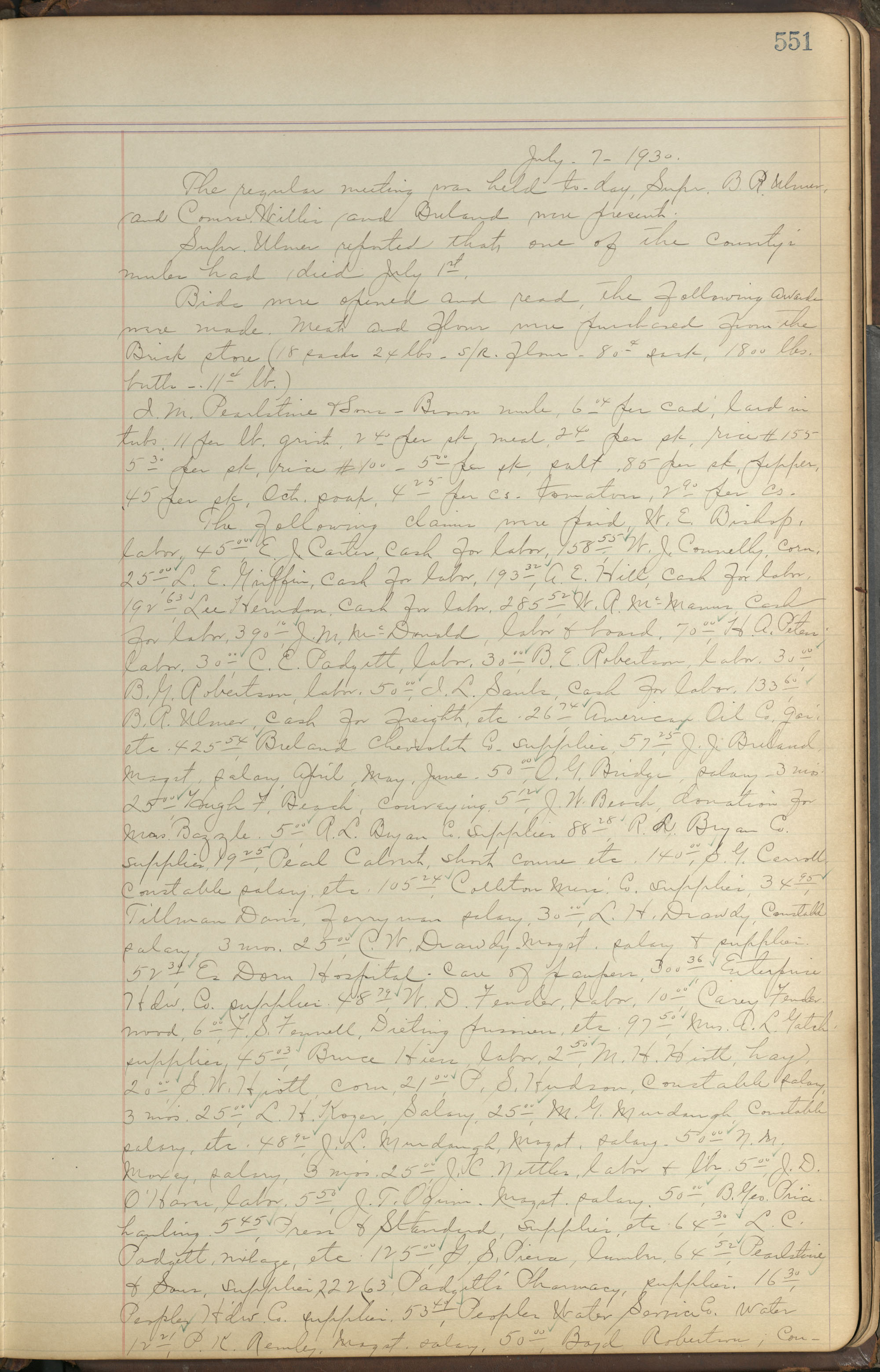 Colleton County Highway Commission Ledger, Page 551