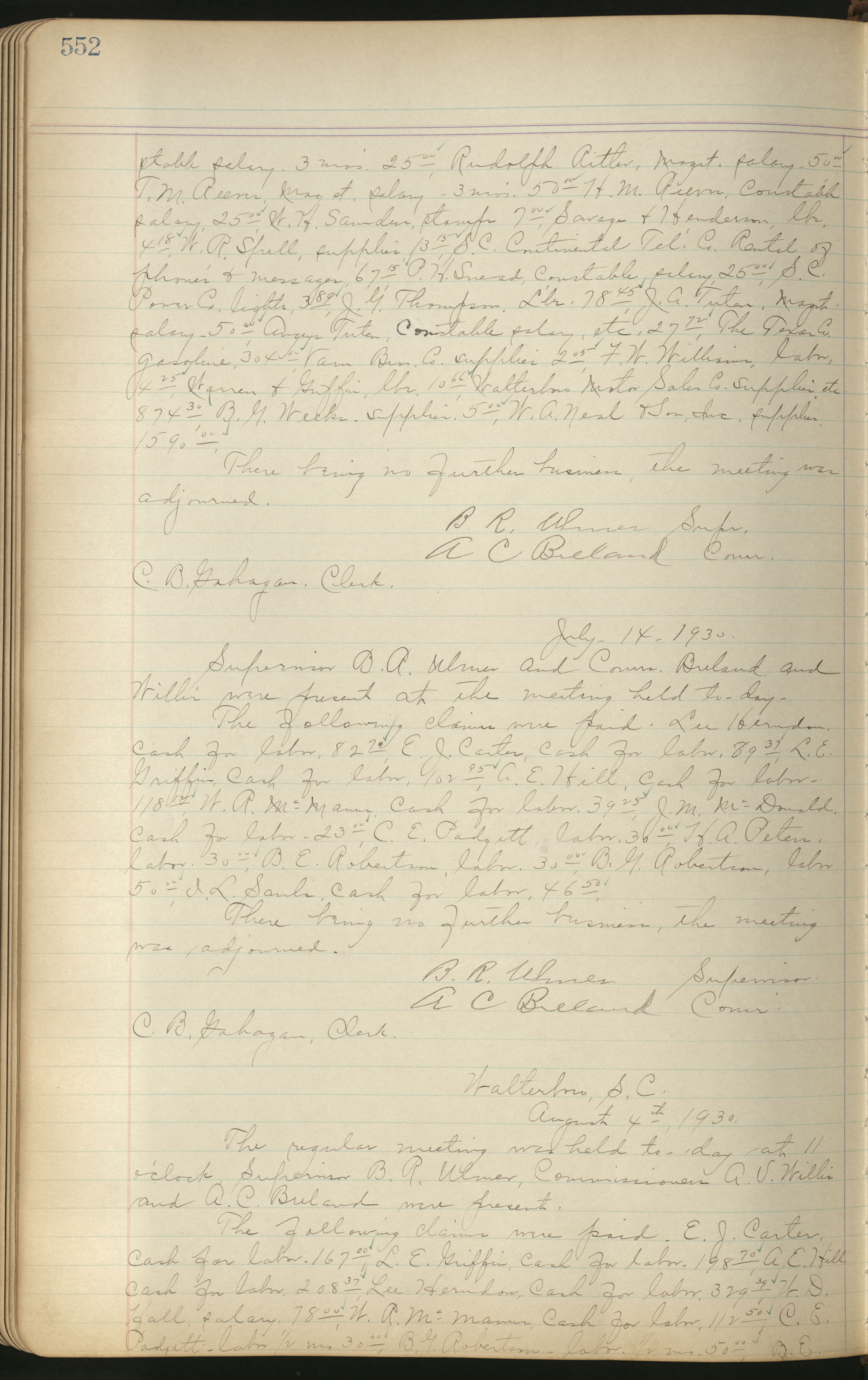 Colleton County Highway Commission Ledger, Page 552