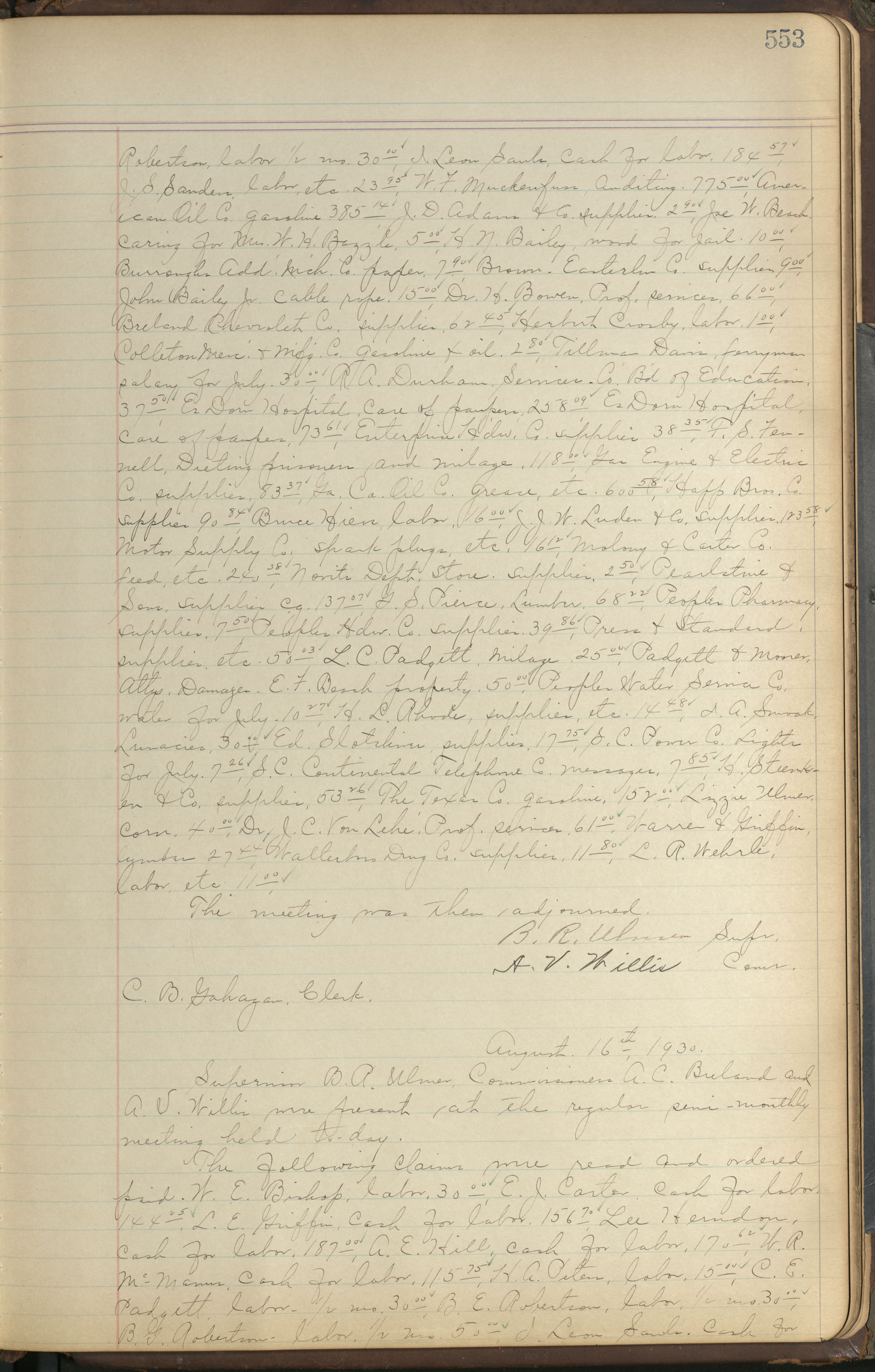 Colleton County Highway Commission Ledger, Page 553