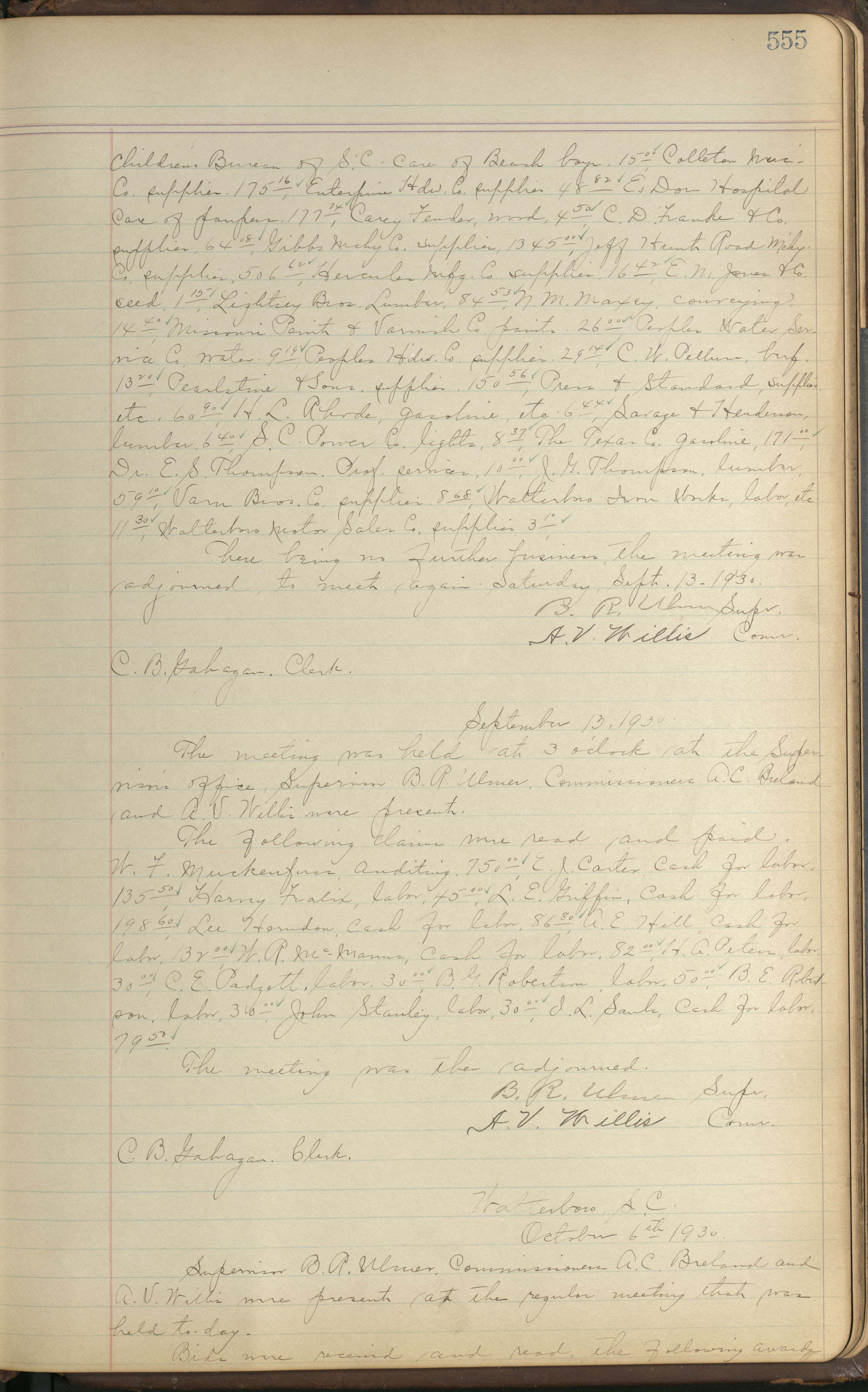 Colleton County Highway Commission Ledger, Page 555