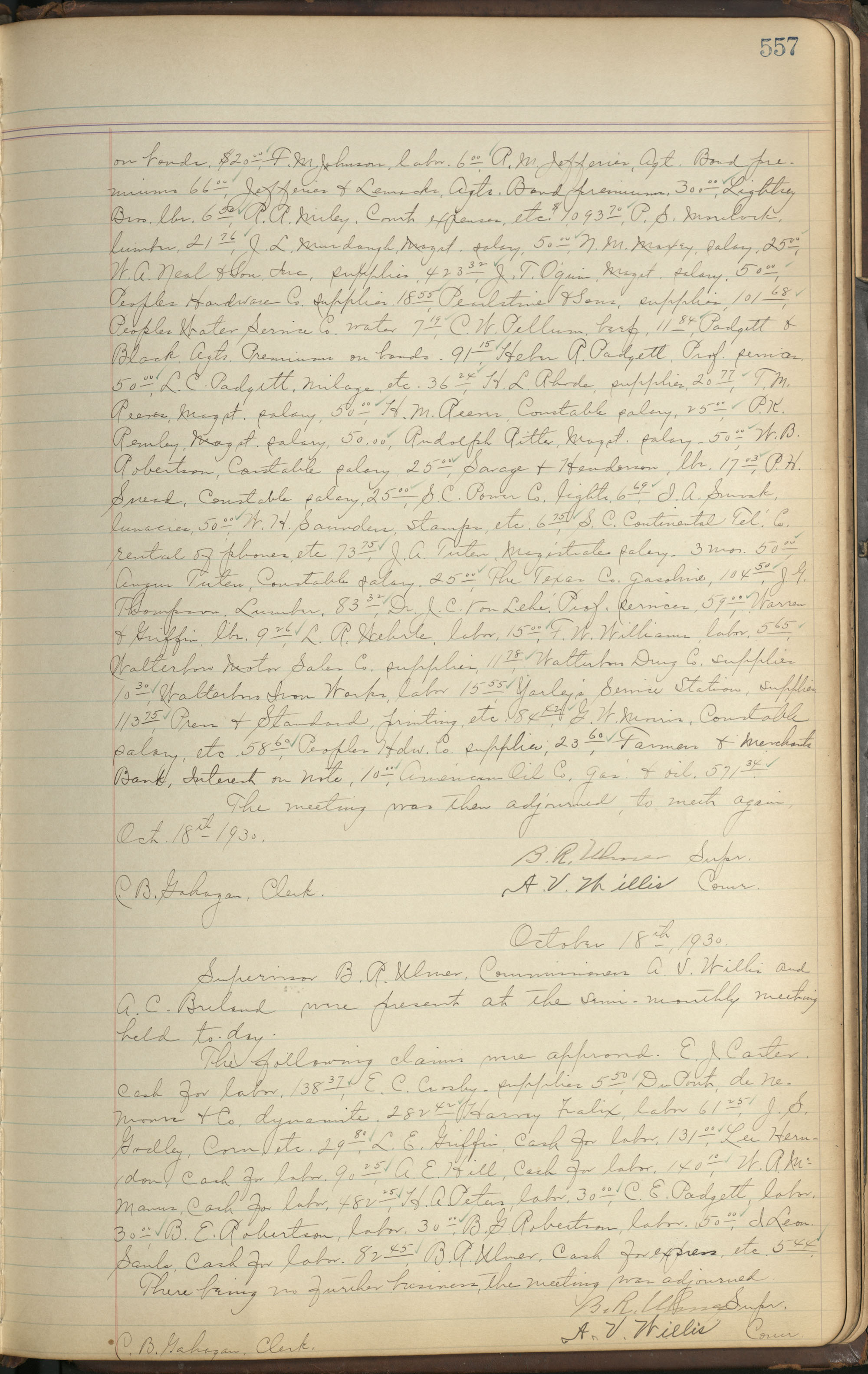 Colleton County Highway Commission Ledger, Page 557