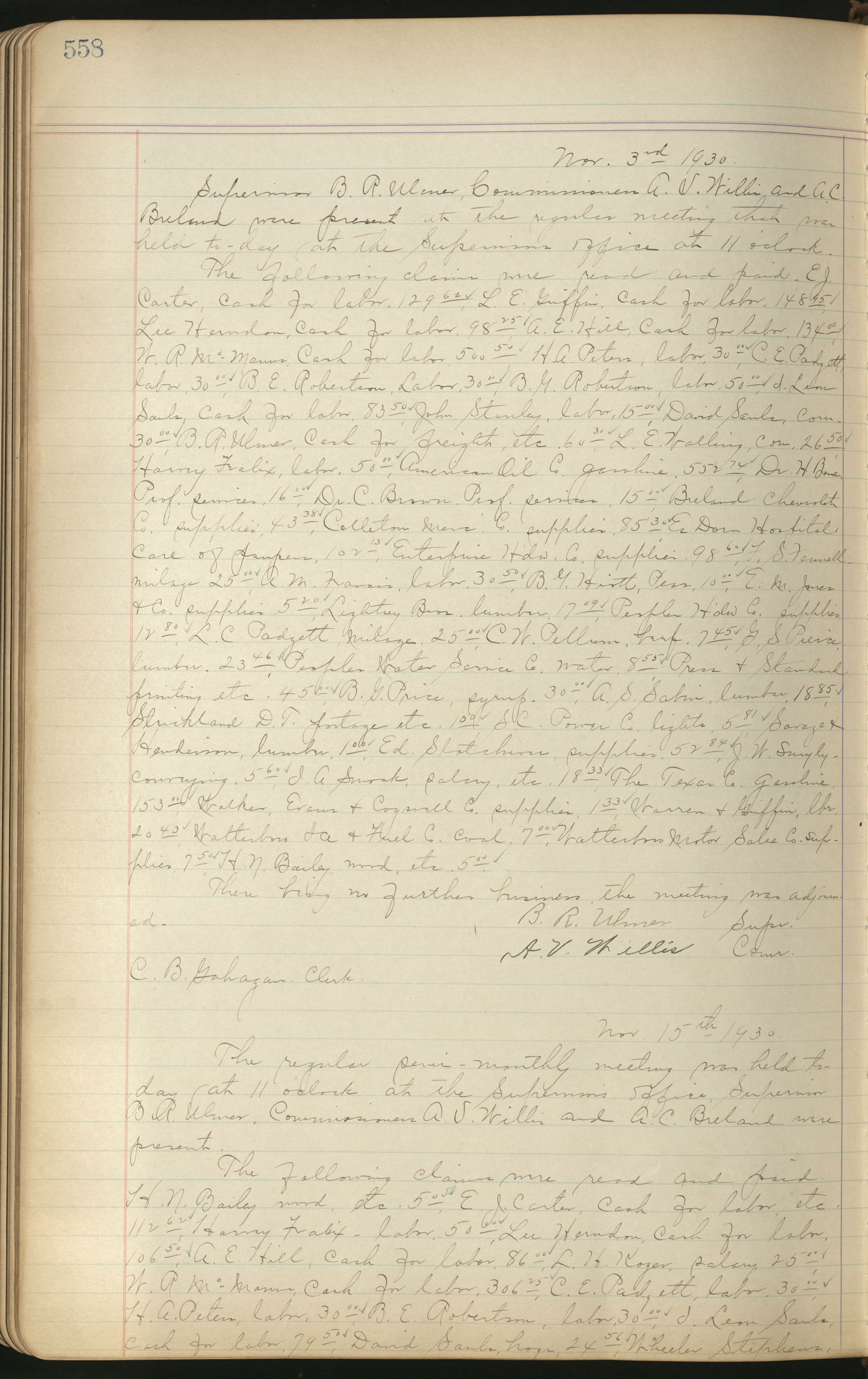 Colleton County Highway Commission Ledger, Page 558