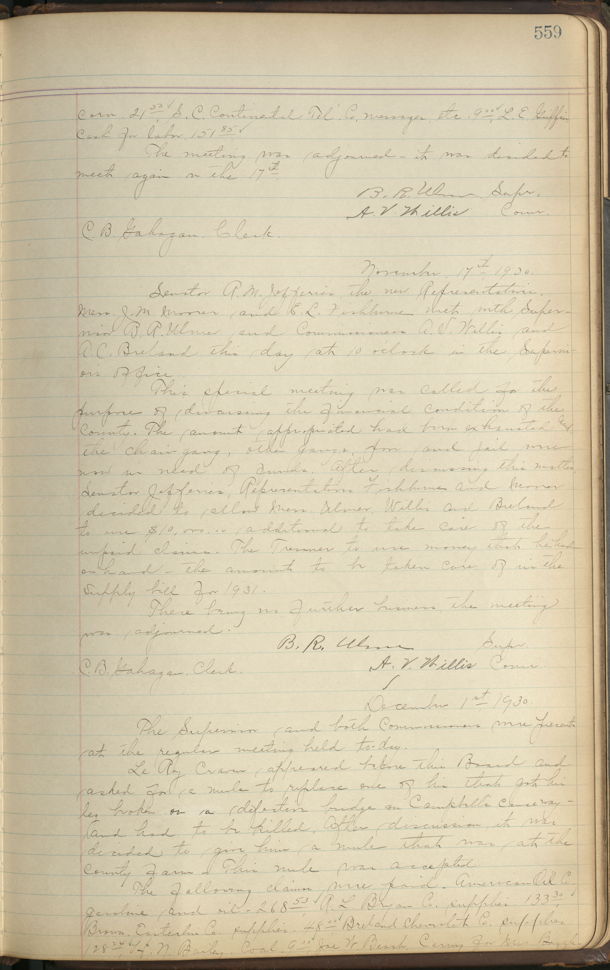 Colleton County Highway Commission Ledger, Page 559