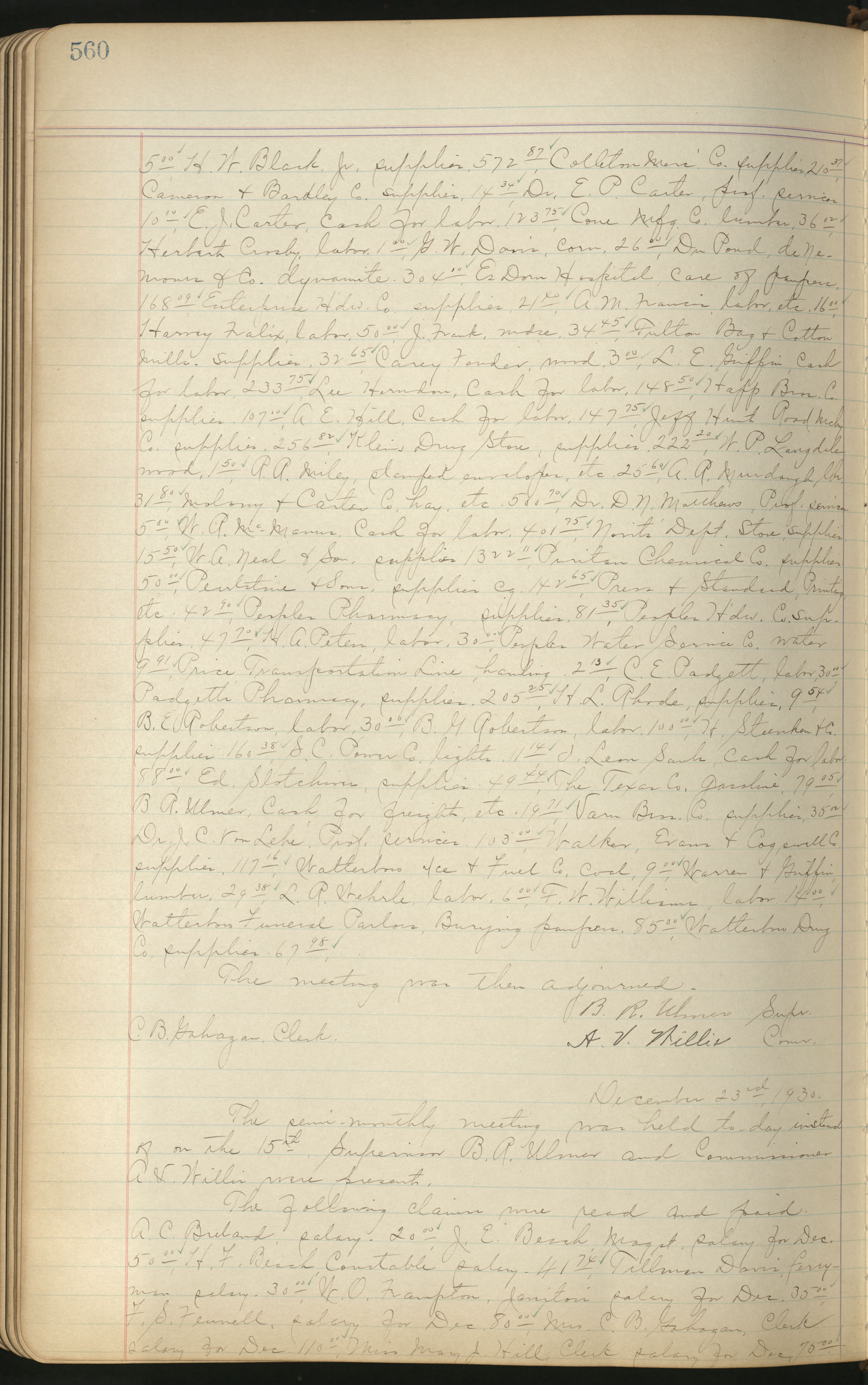 Colleton County Highway Commission Ledger, Page 560