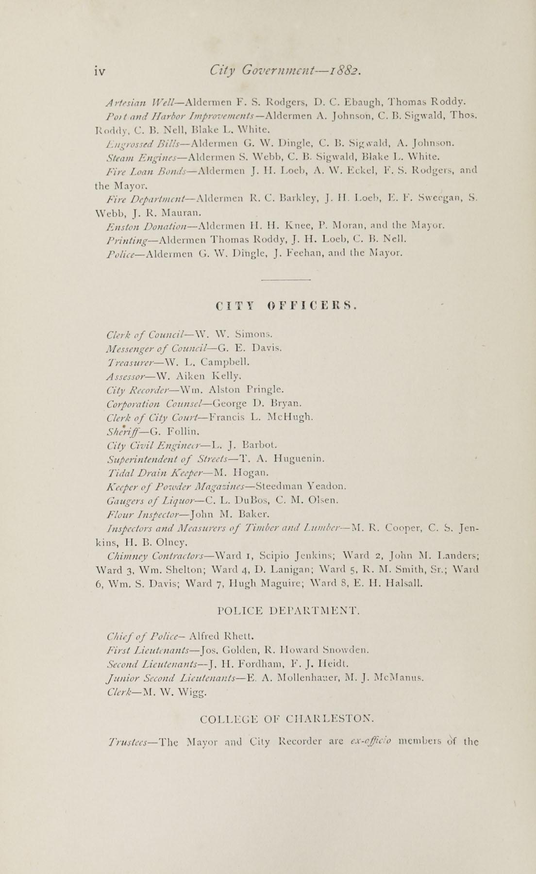Charleston Yearbook, 1882, page iv