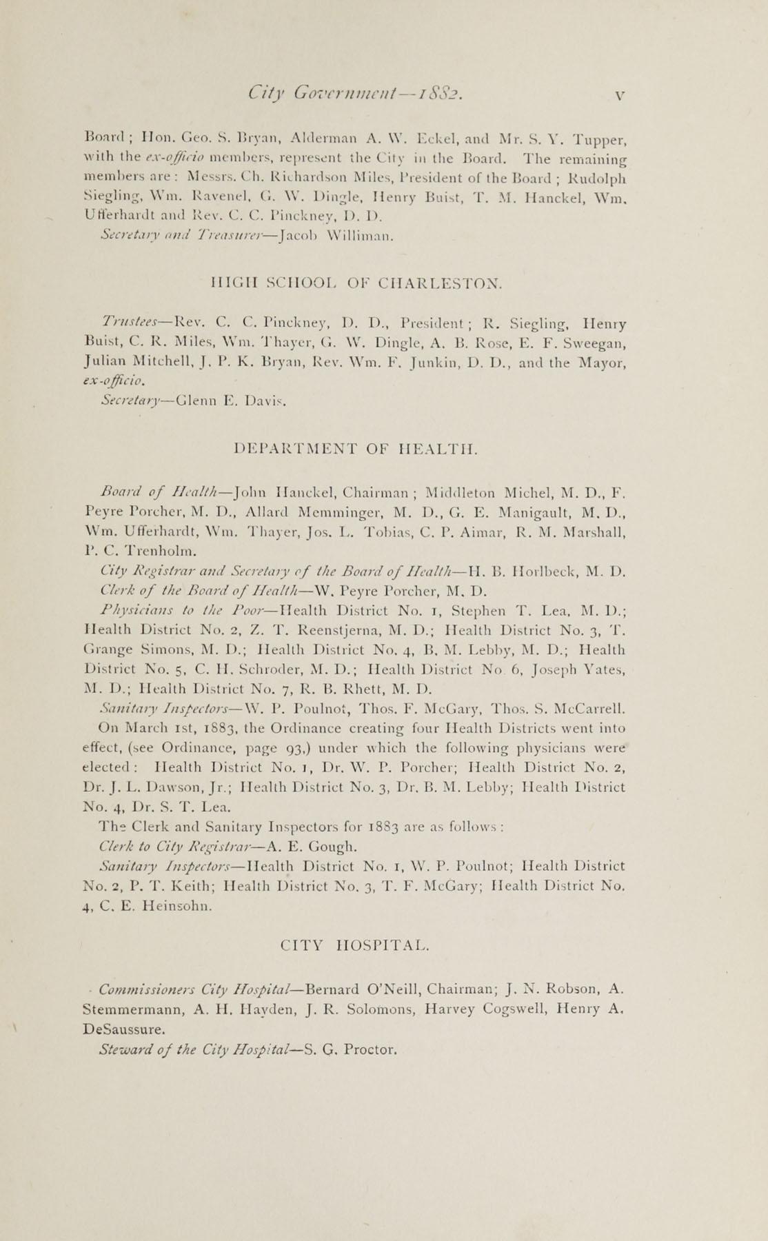 Charleston Yearbook, 1882, page v