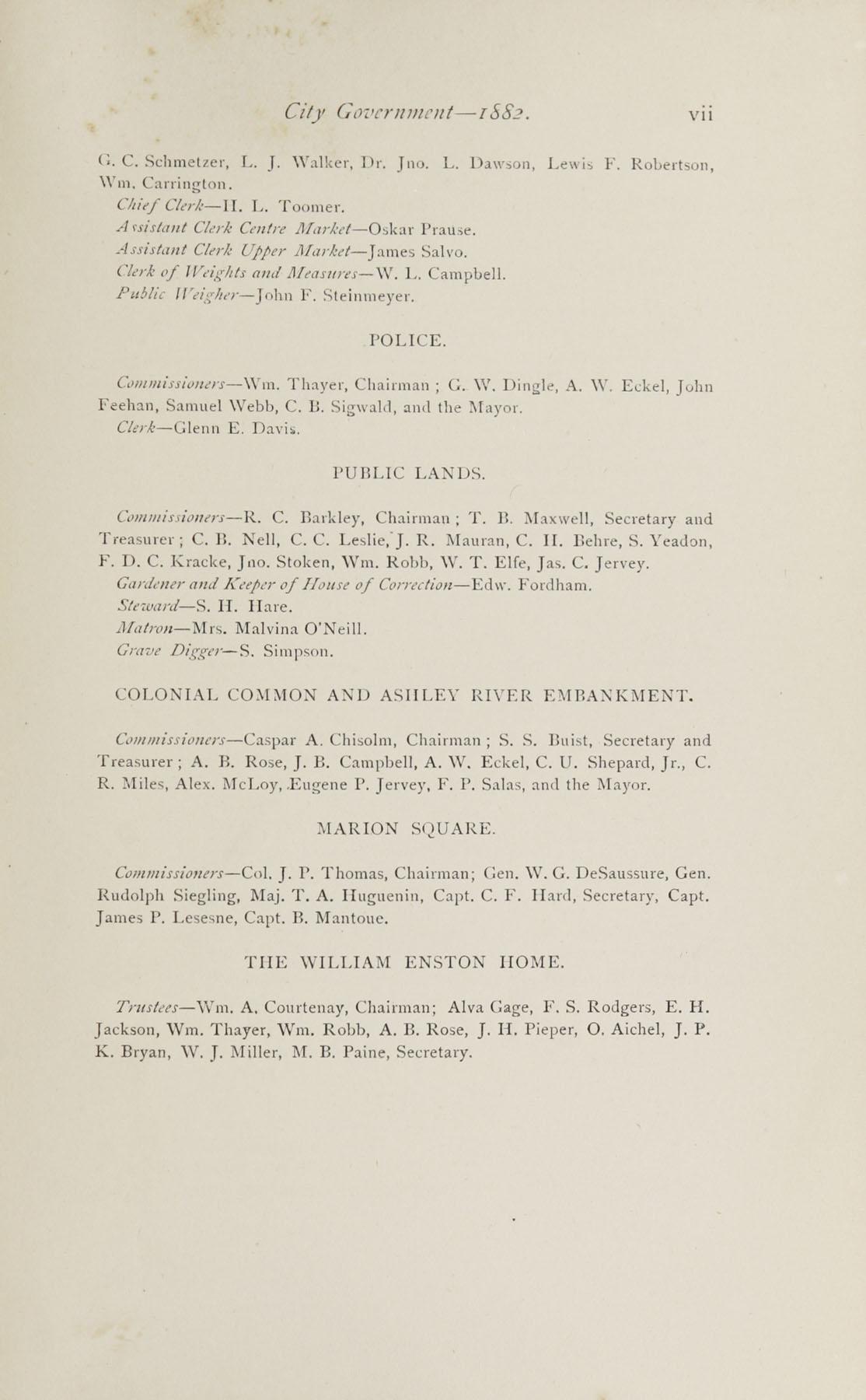 Charleston Yearbook, 1882, page vii