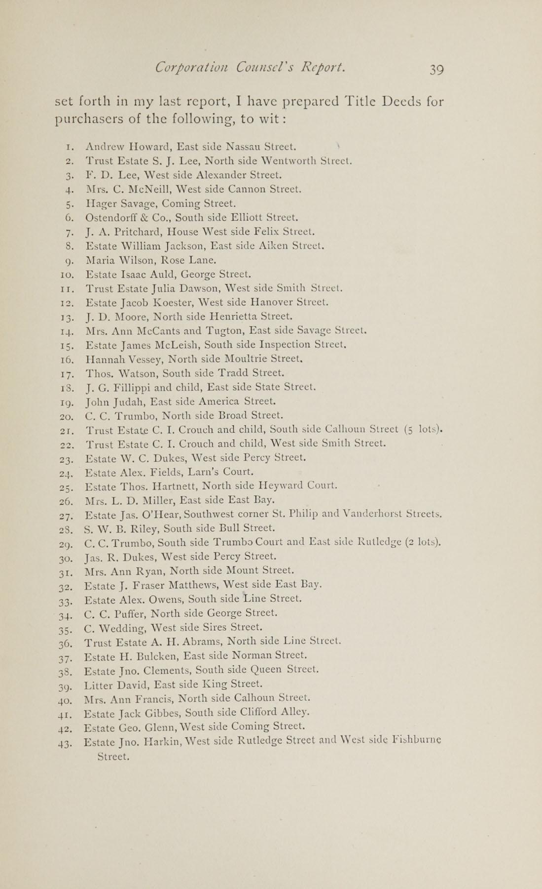 Charleston Yearbook, 1882, page 39